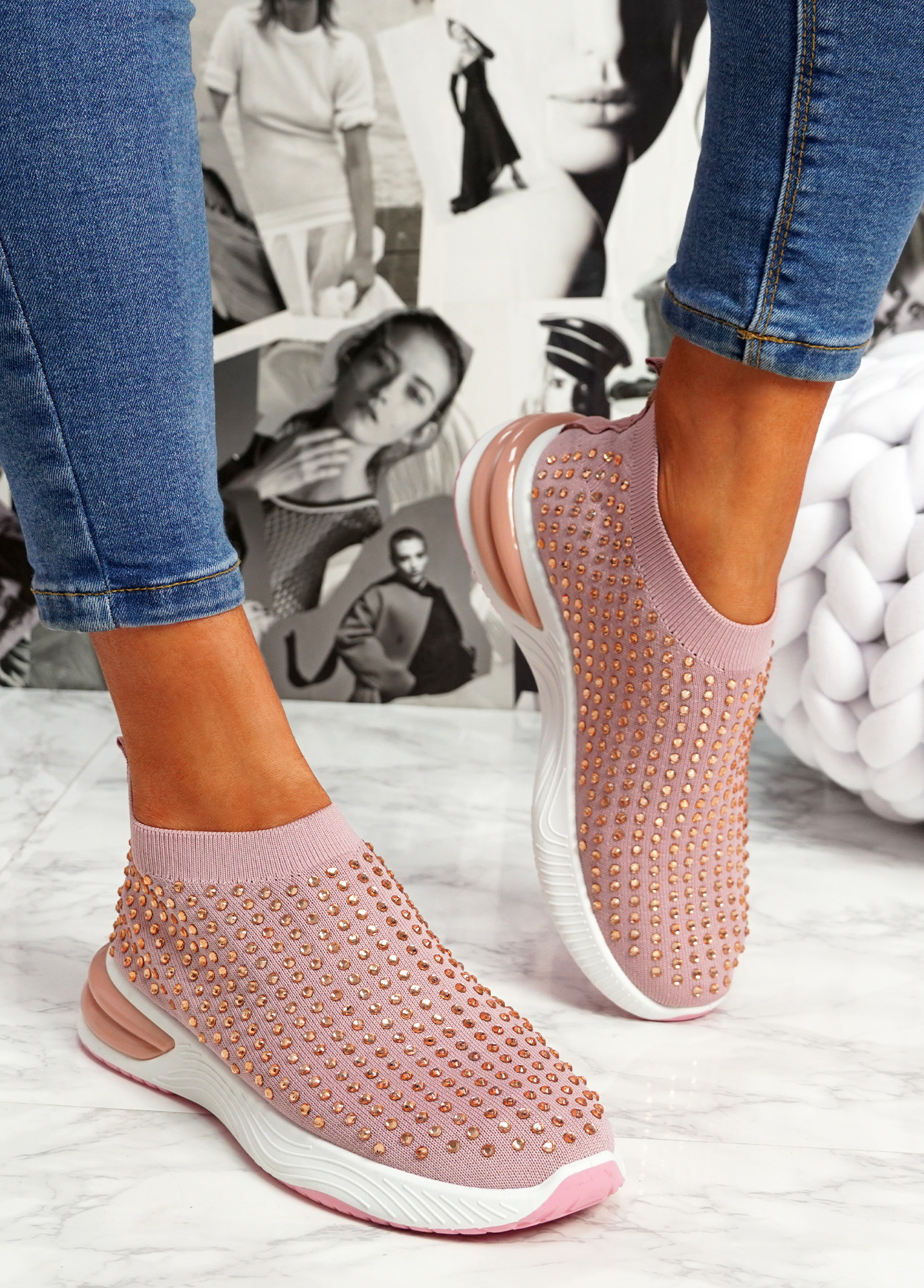 Zety Pink Studded Slip On Sneakers