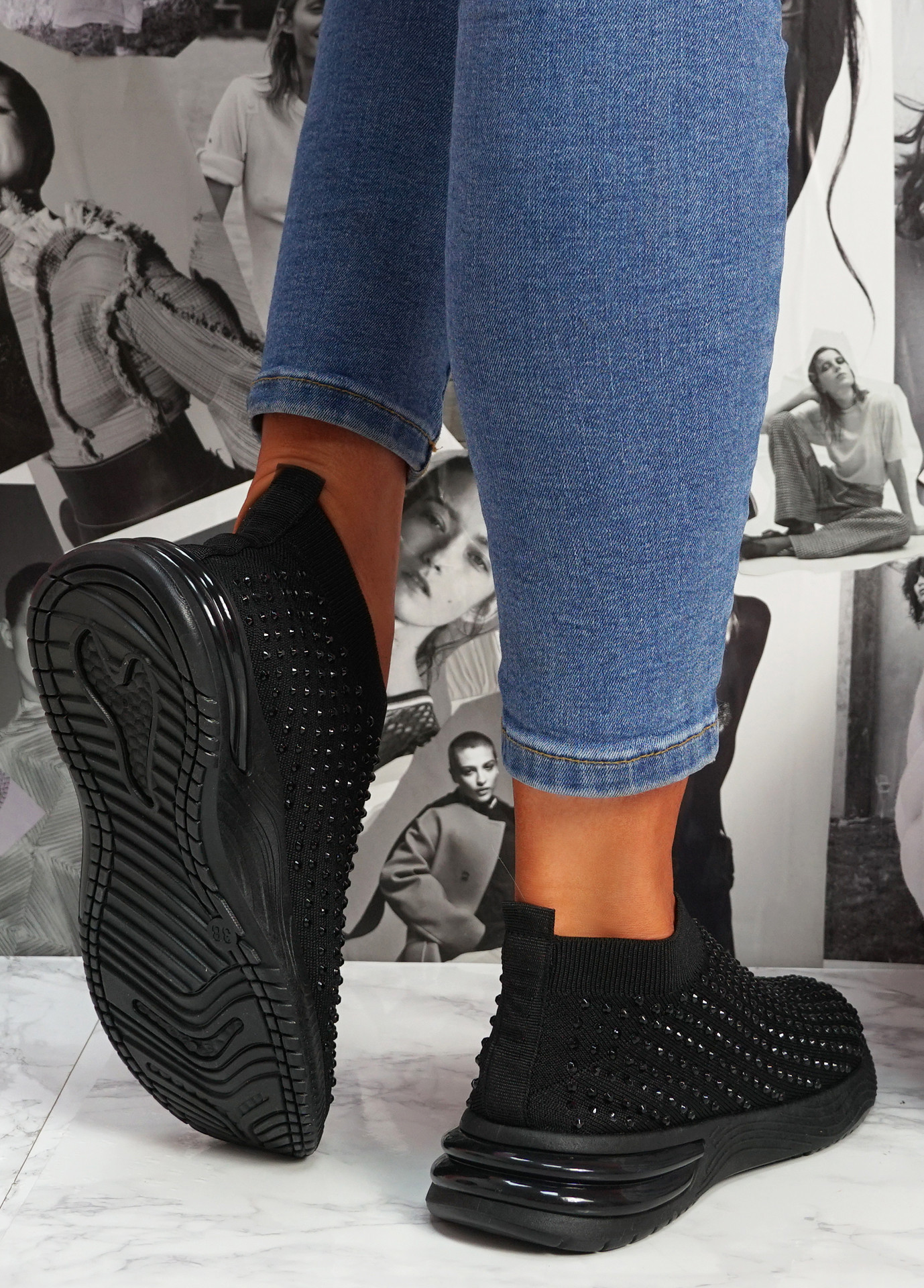 Zety Black Studded Slip On Sneakers