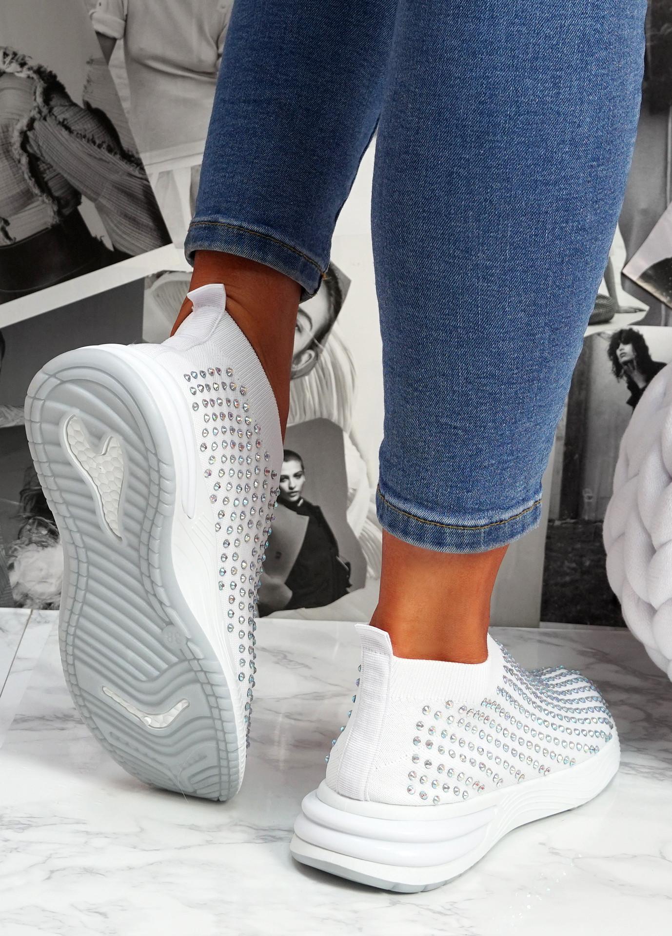Zety White Studded Slip On Sneakers