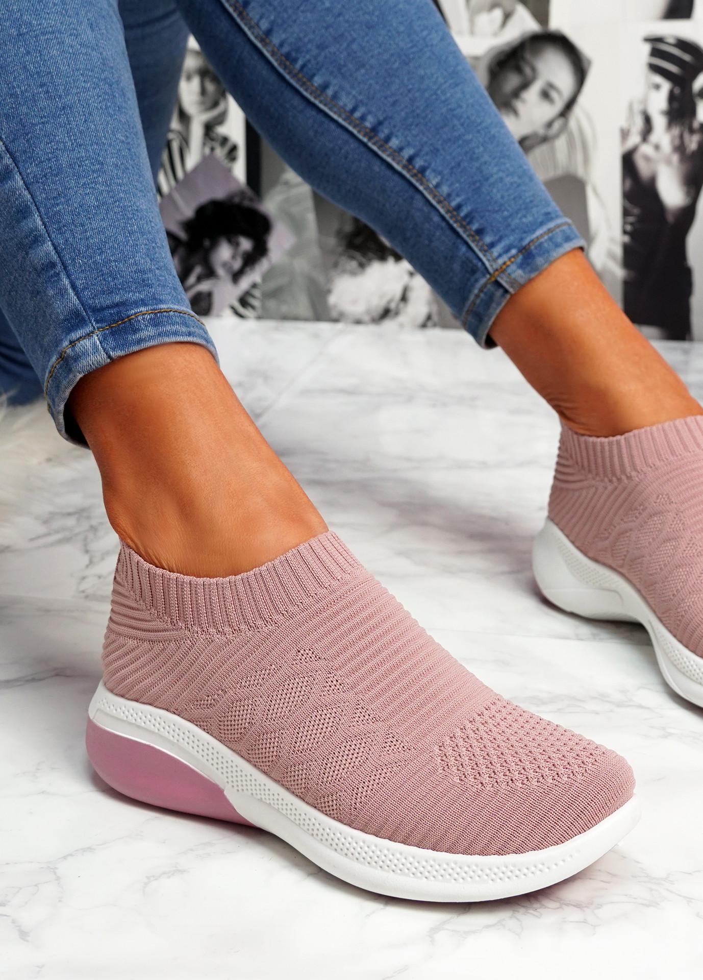 Muzy Pink Knit Slip On Trainers