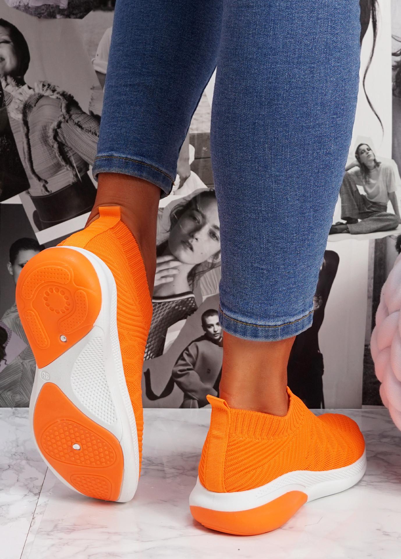 Muzy Orange Knit Slip On Trainers