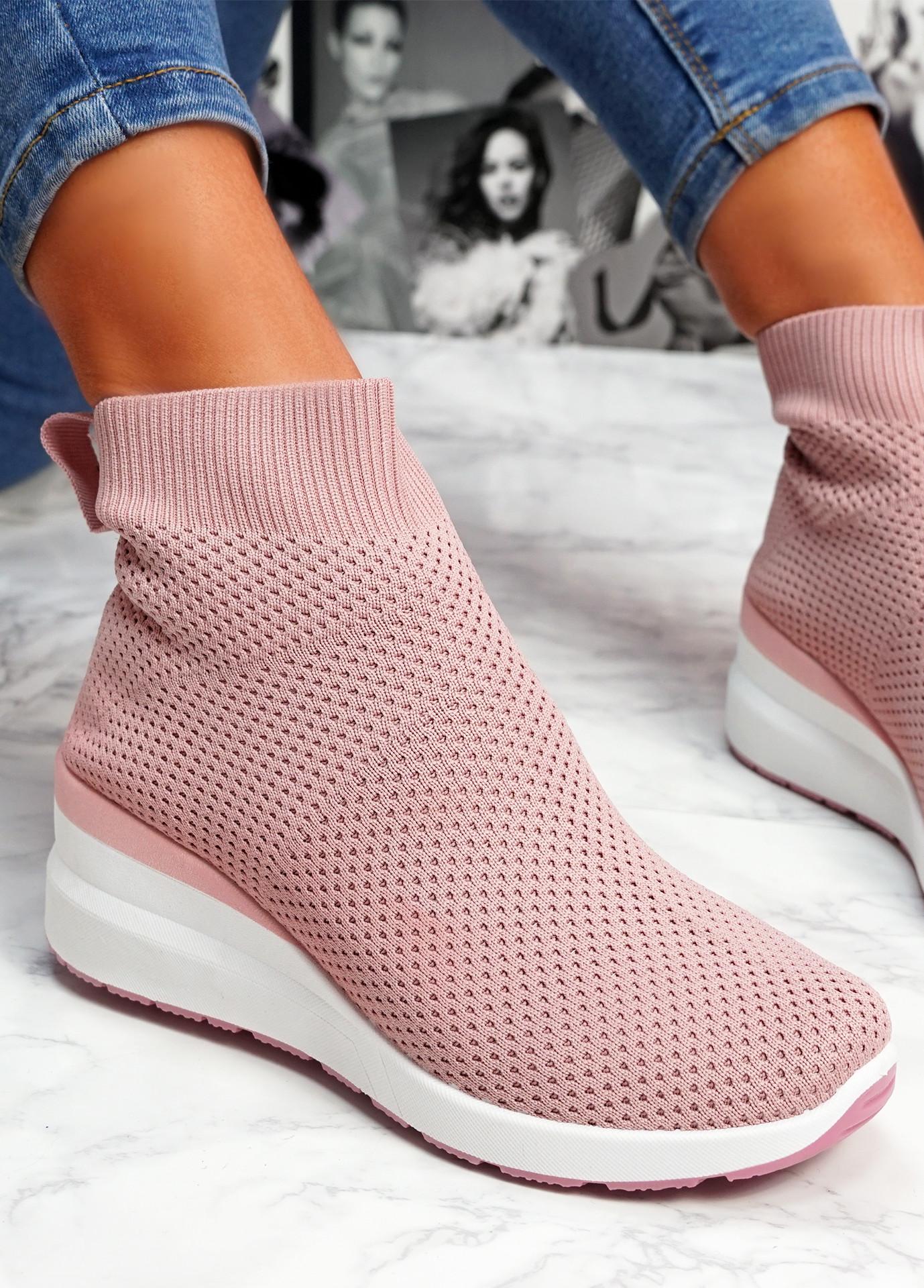 Sue Pink Sock Sneakers