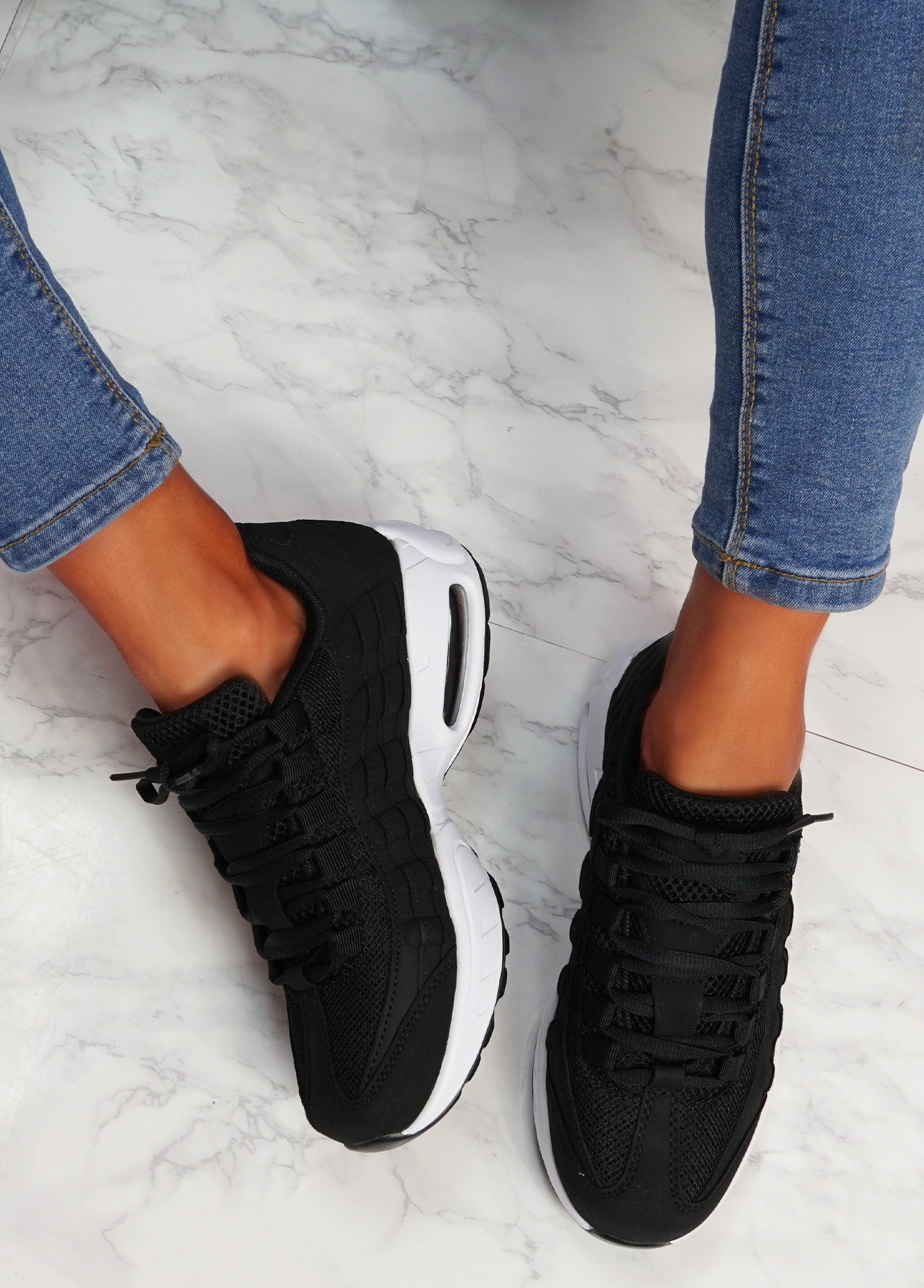 Ipy Black White Chunky Sport Trainers