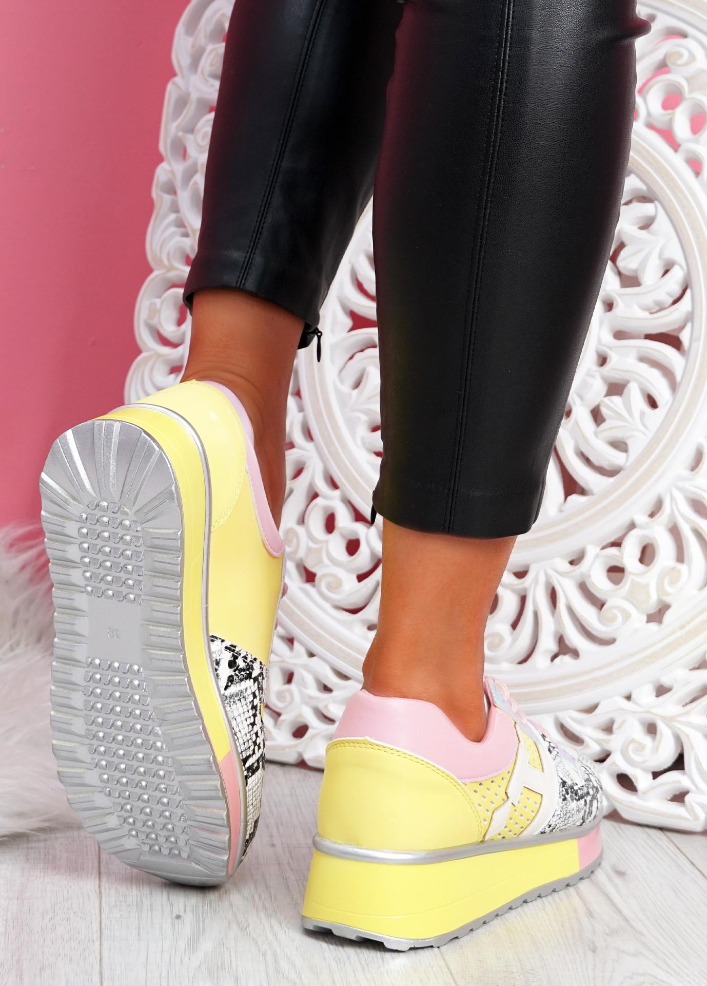 Rivva Pink Snake Skin Pattern Trainers