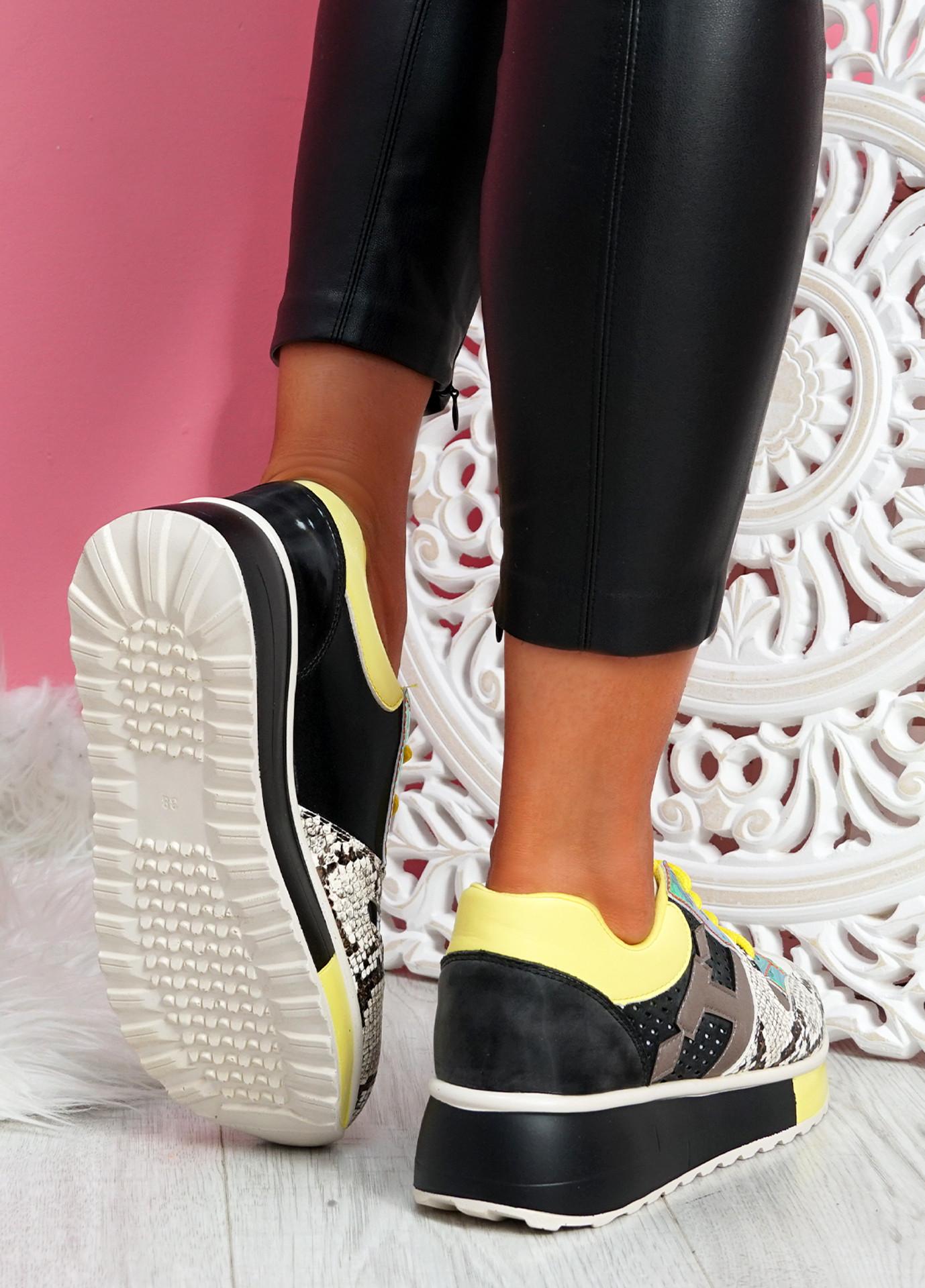 Rivva Yellow Snake Skin Pattern Trainers