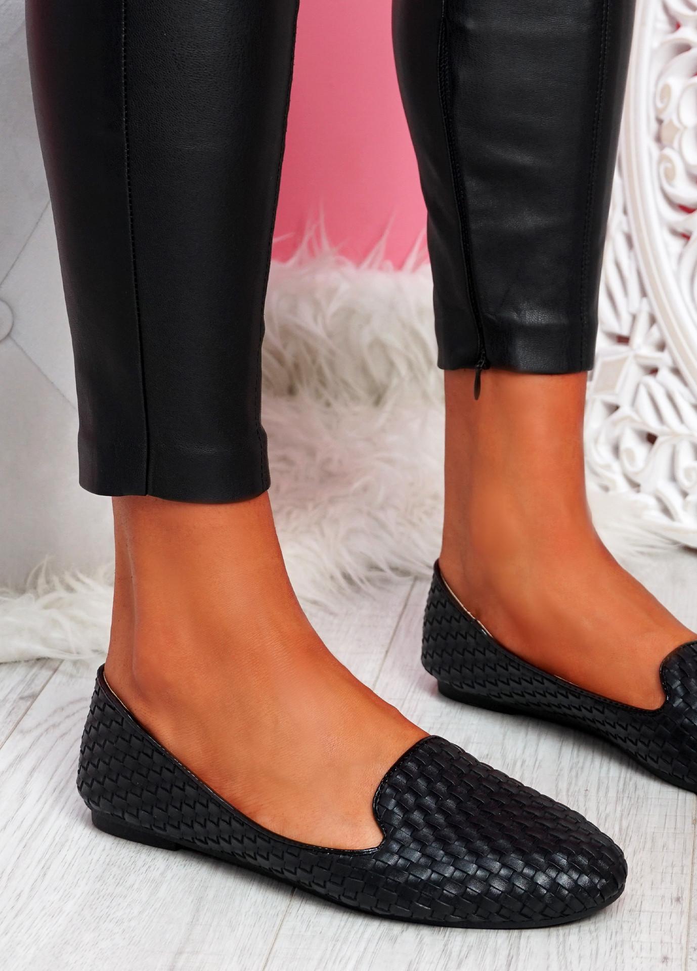 Veny Black Weave Ballerinas
