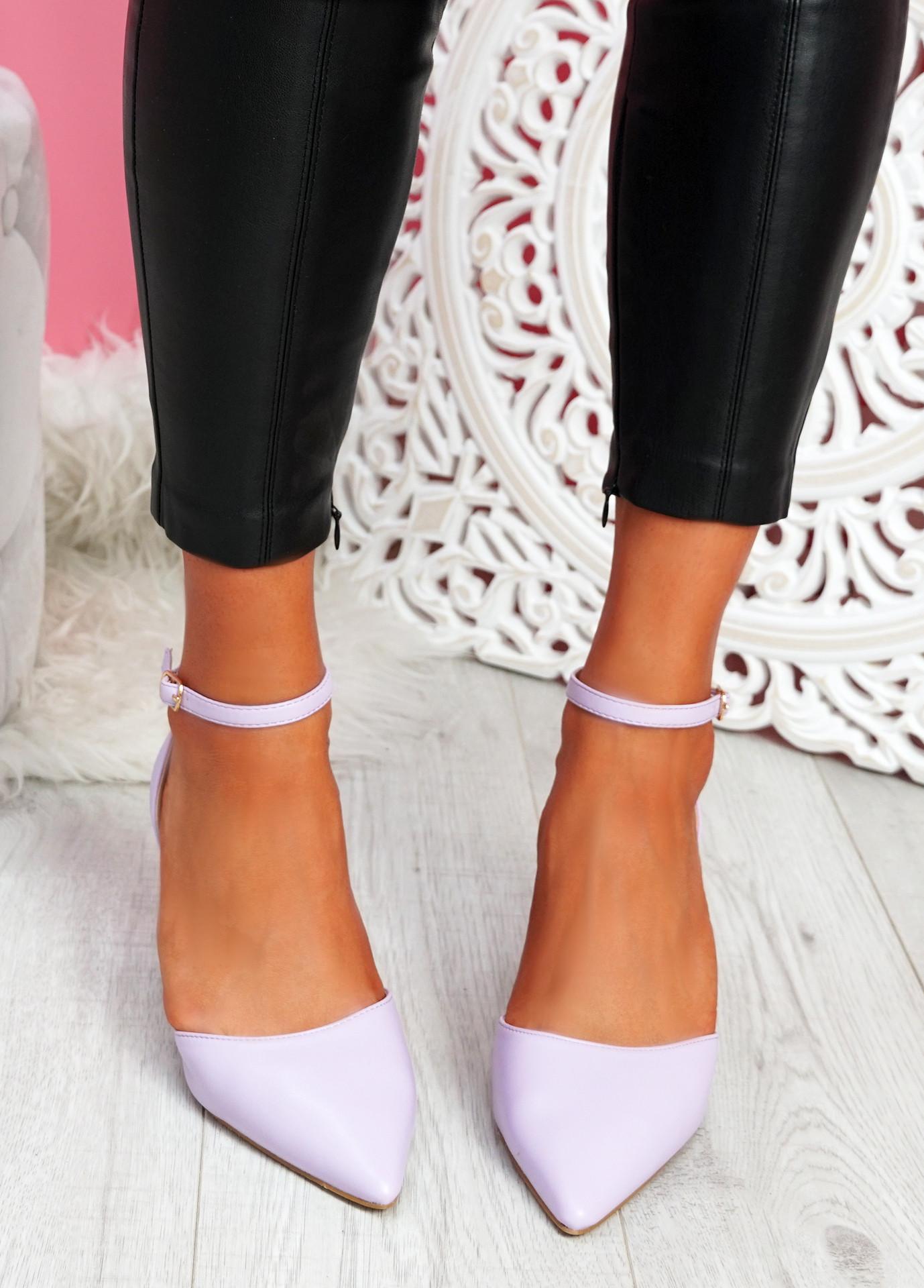 Metto Lilac Block Heel Pumps