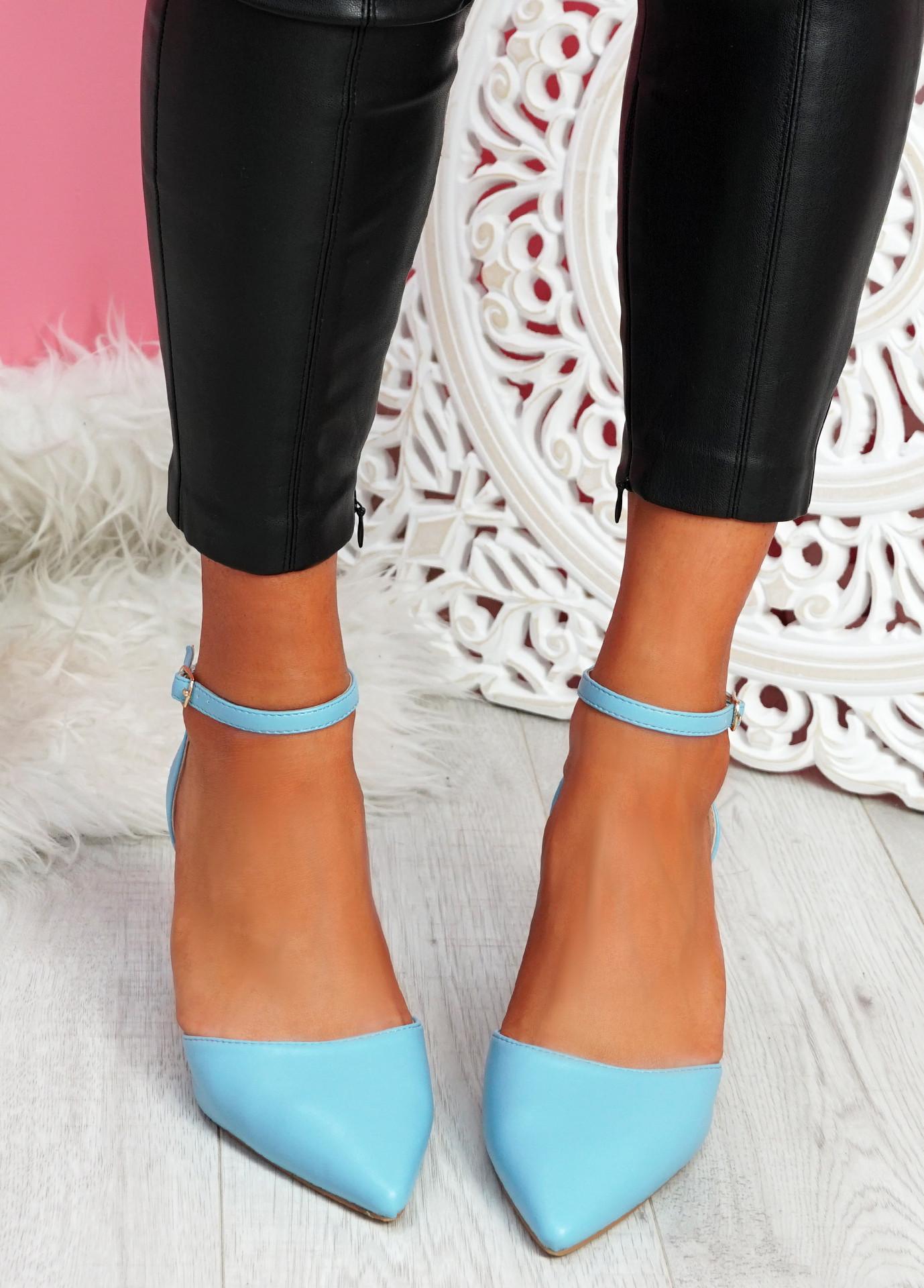 Metto Light Blue Block Heel Pumps