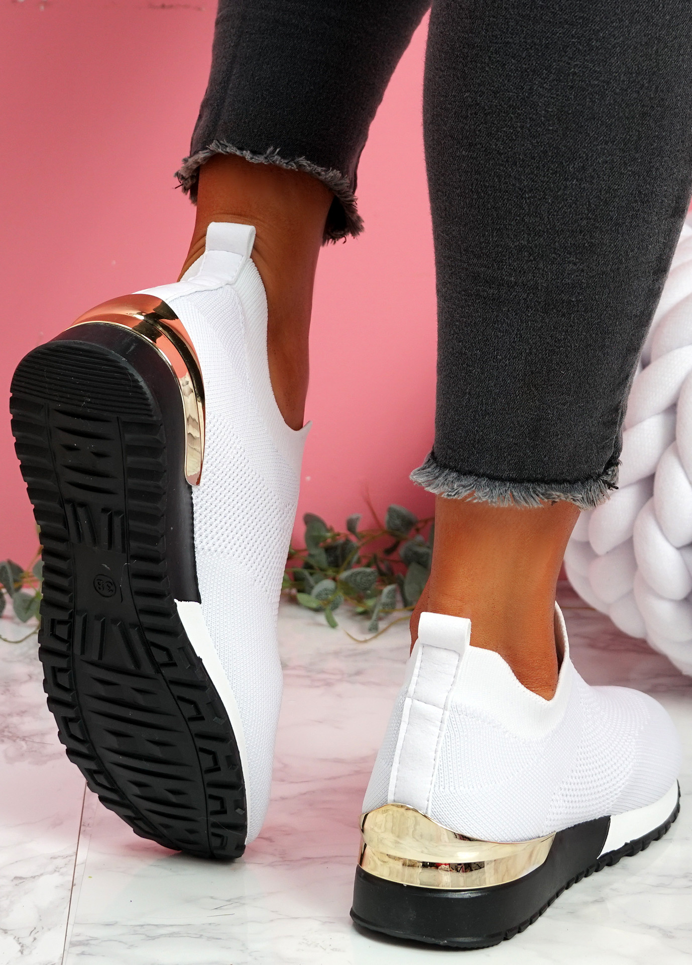 Nyve White Knit Trainers