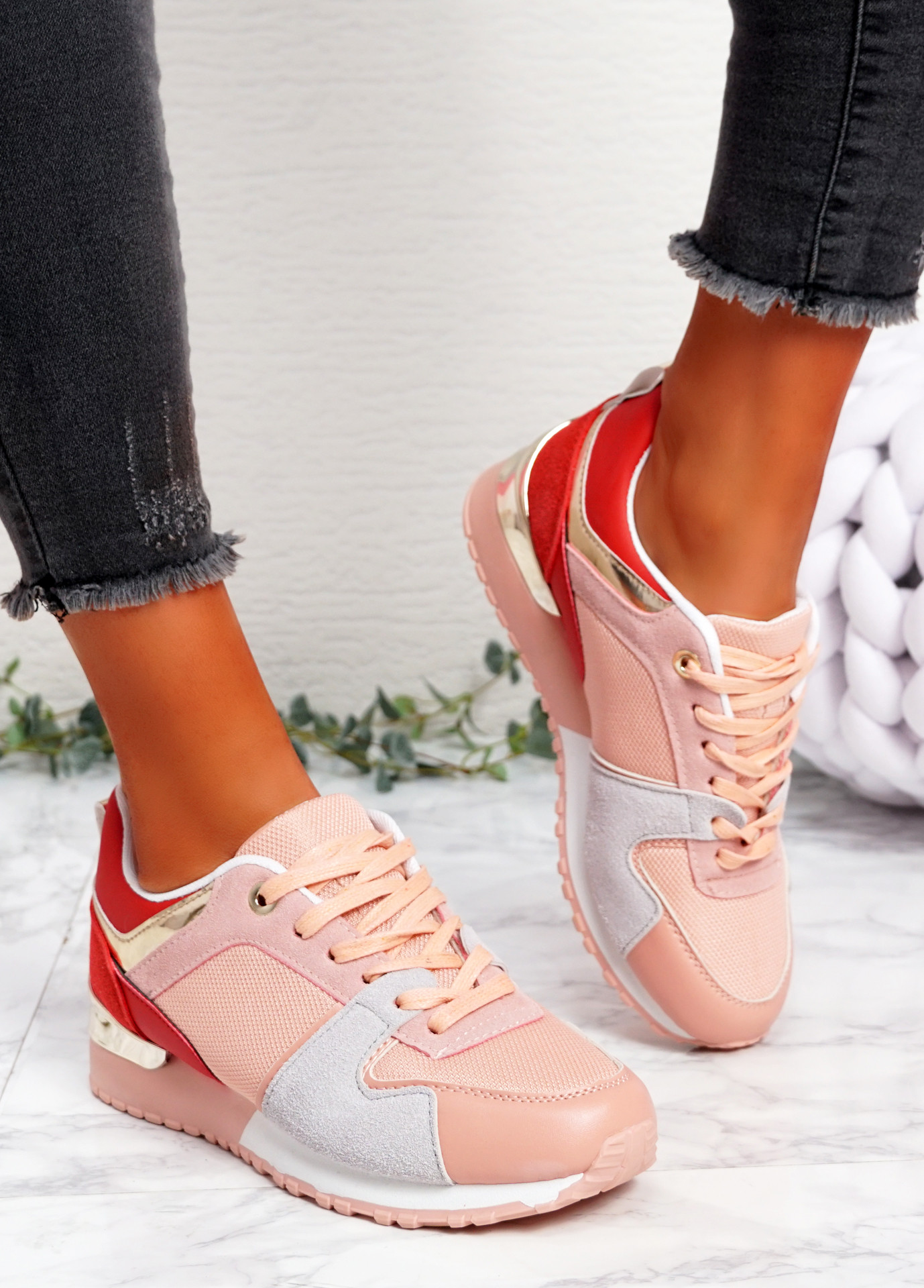 Onne Pink Lace Up Trainers