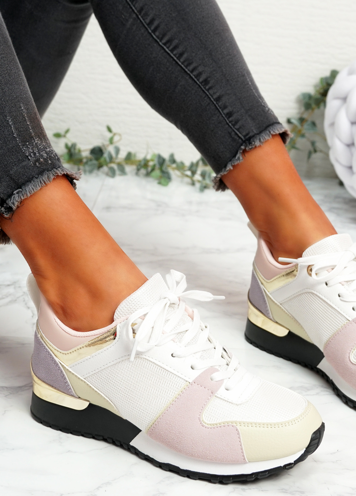 Onne White Pink Lace Up Trainers