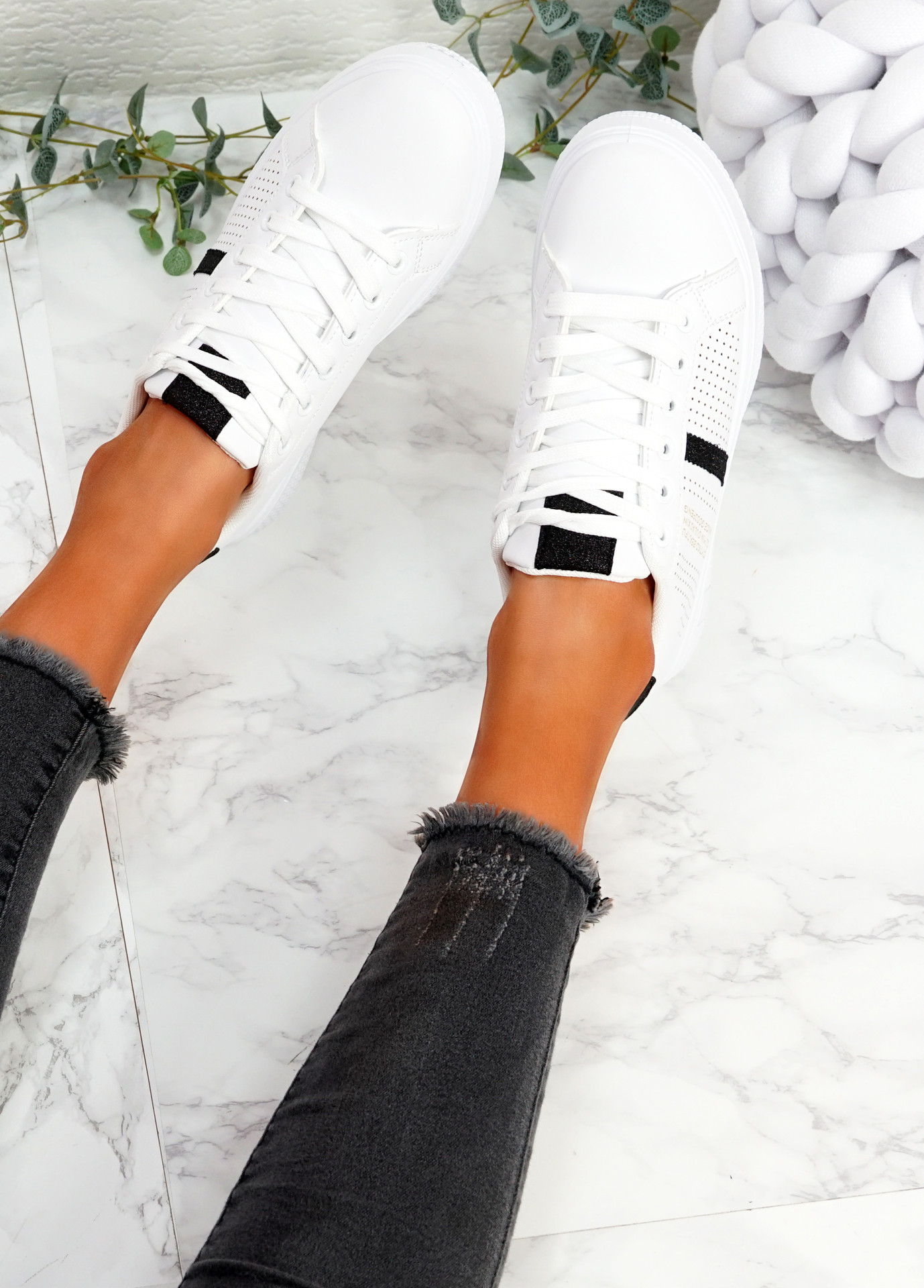 Pobe Black Lace Up Trainers