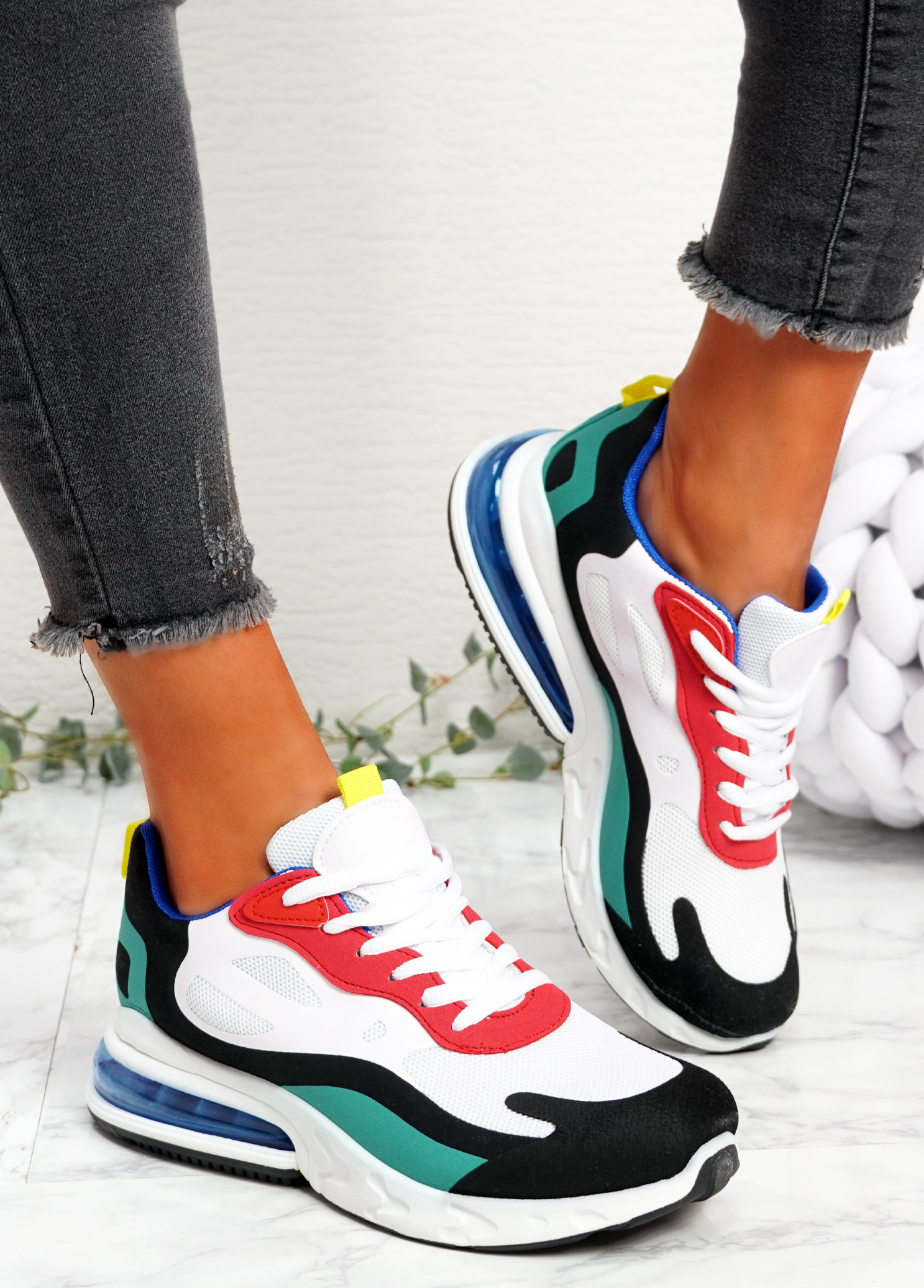 Lonny White Black Chunky Trainers