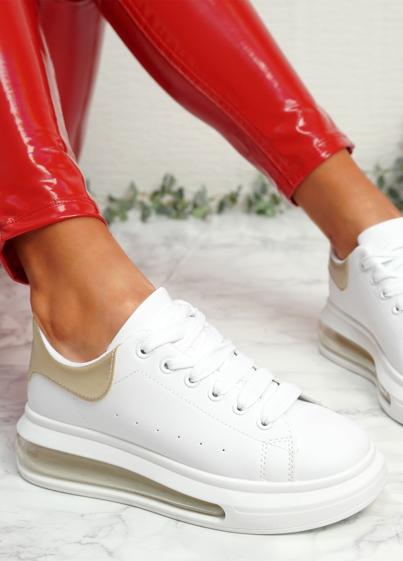 Kiddy White Golden Lace Up Plimsolls