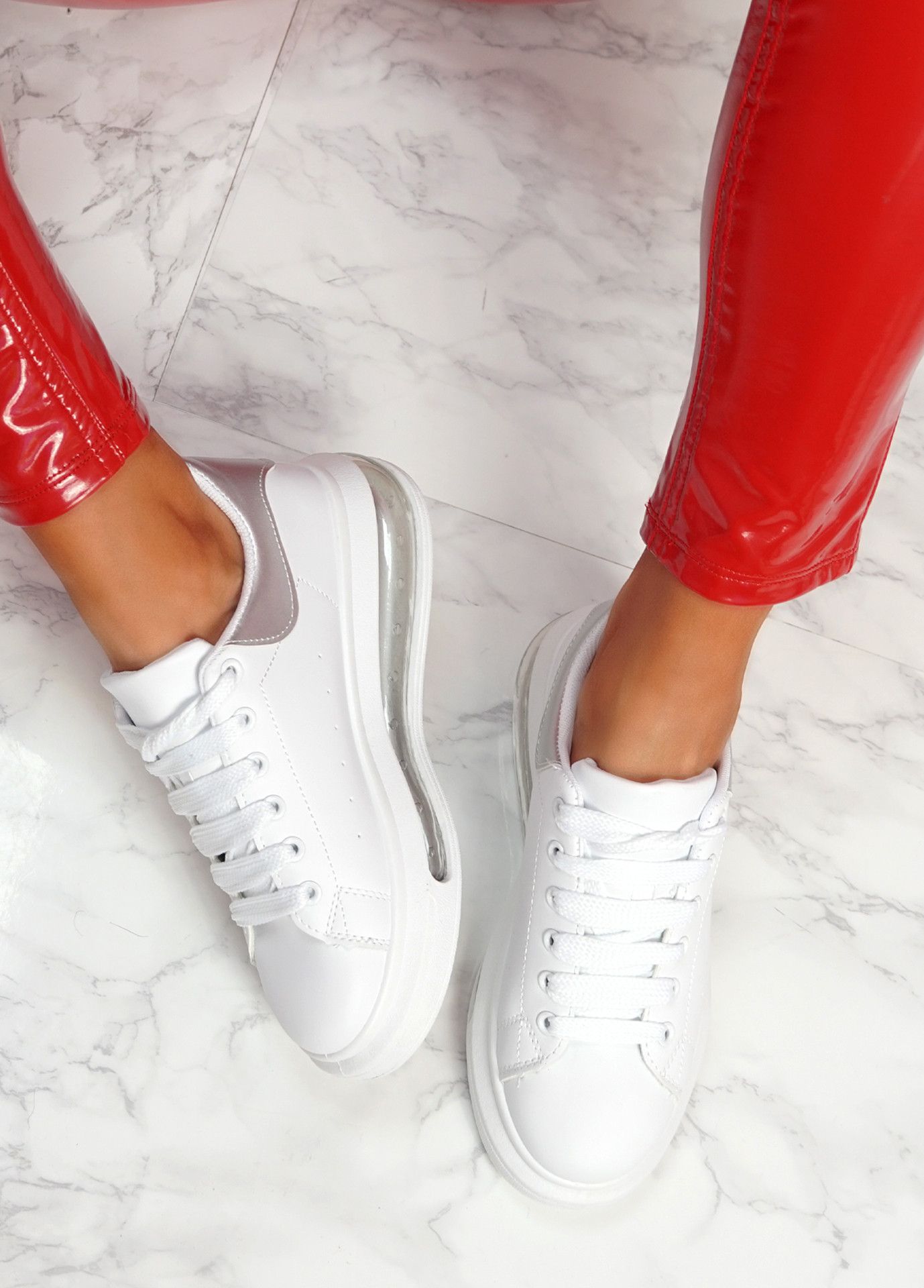 Kiddy White Silver Lace Up Plimsolls