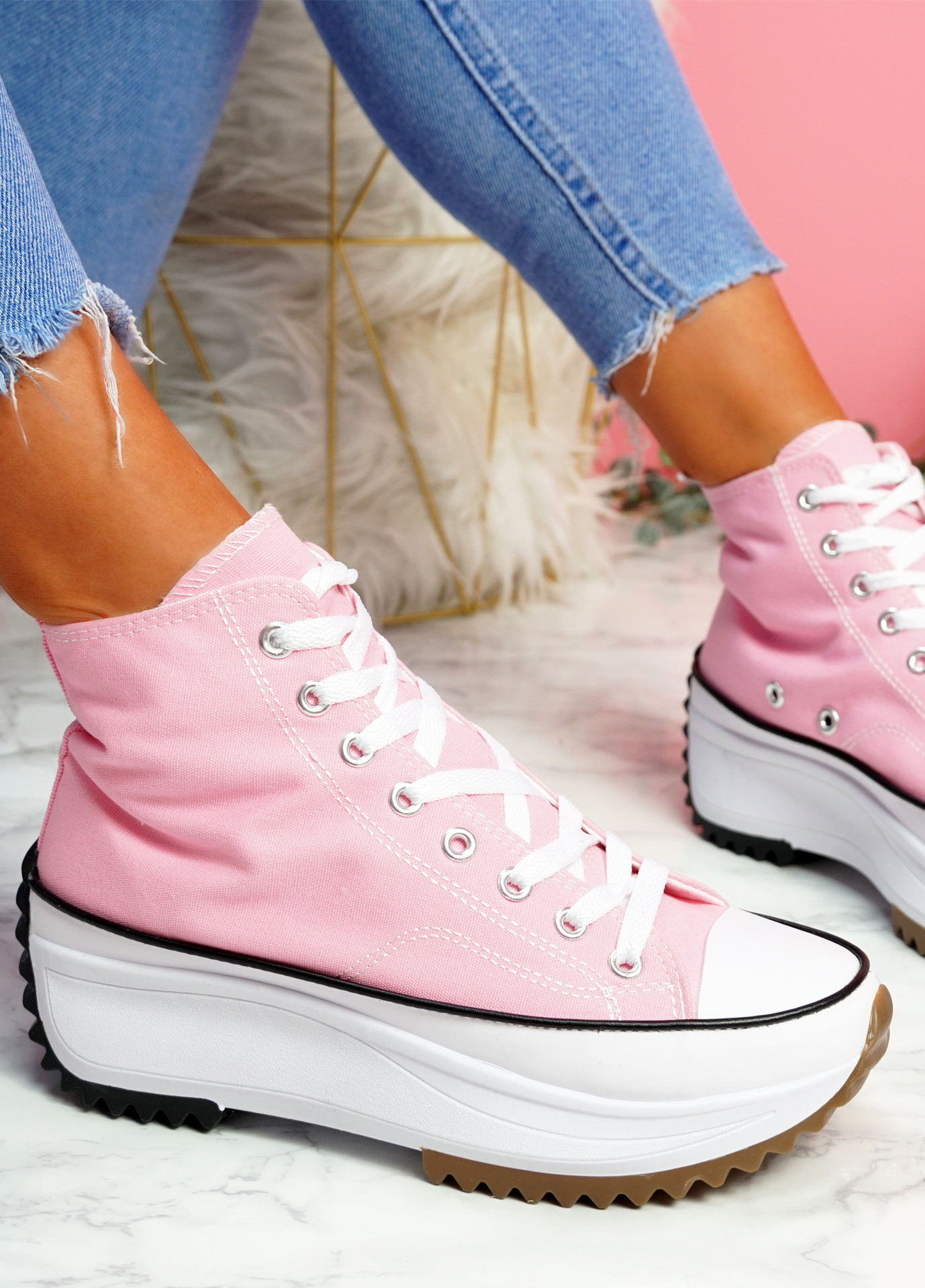 Nuve Pink Flatform Trainers