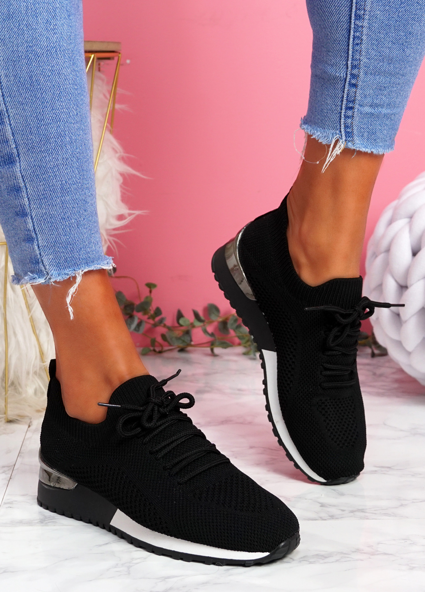 Vedy Black Knit Trainers