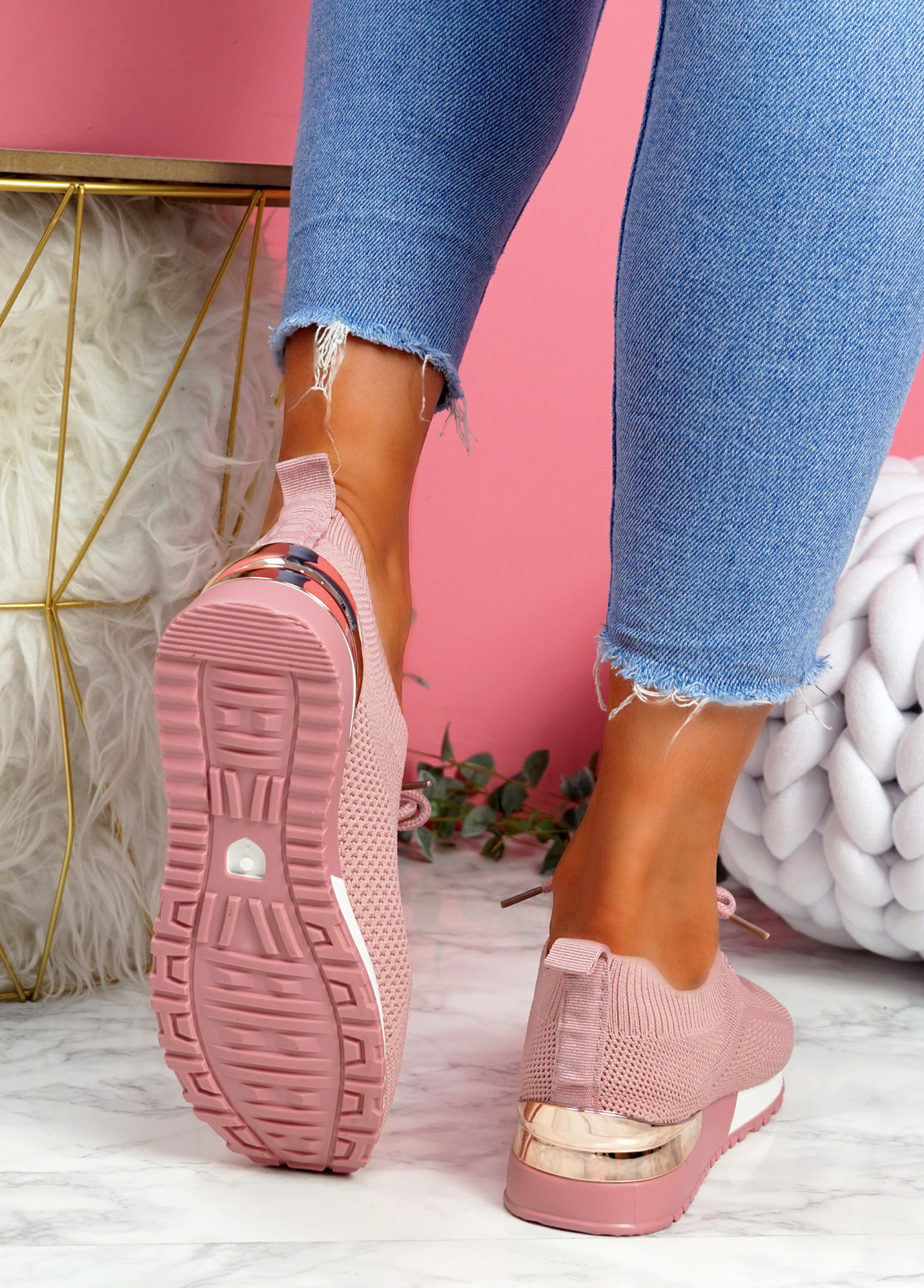 Vedy Pink Knit Trainers