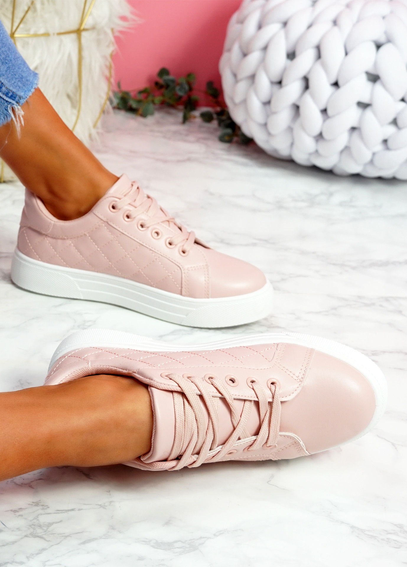Koby Pink Platform Trainers