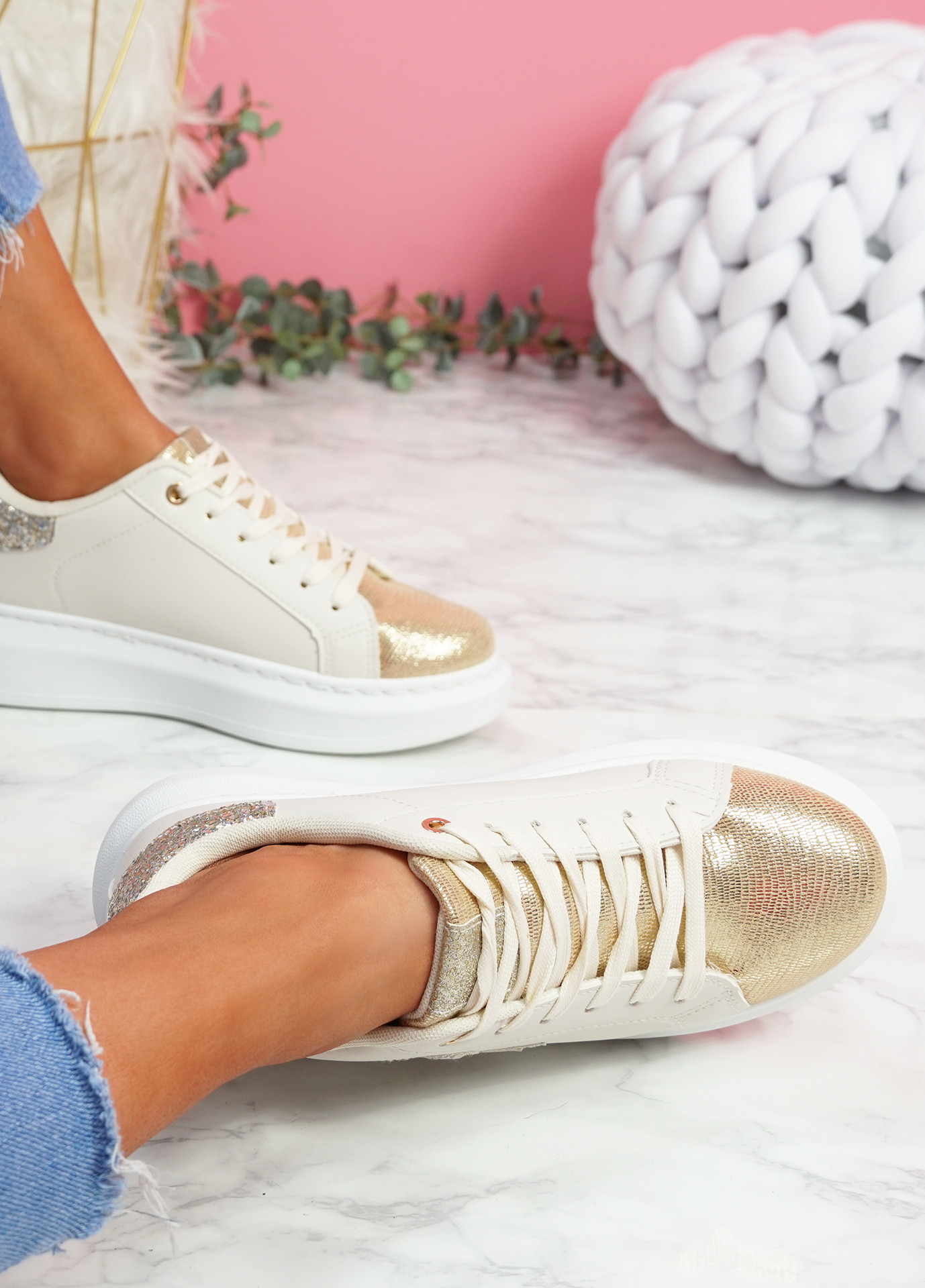 Ribba White Gold Snake Glitter Trainers