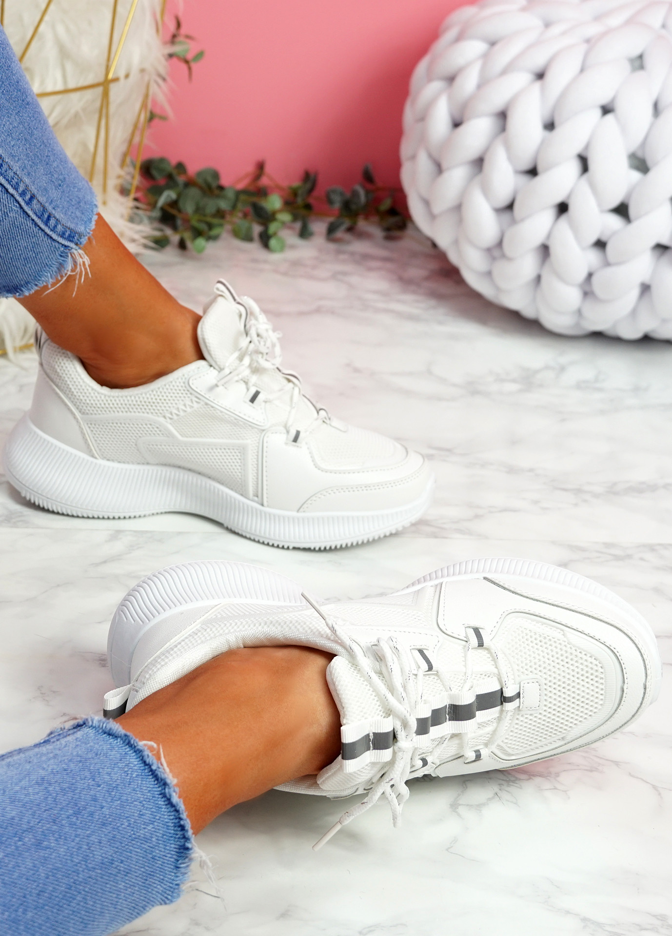Mimma White Chunky Trainers