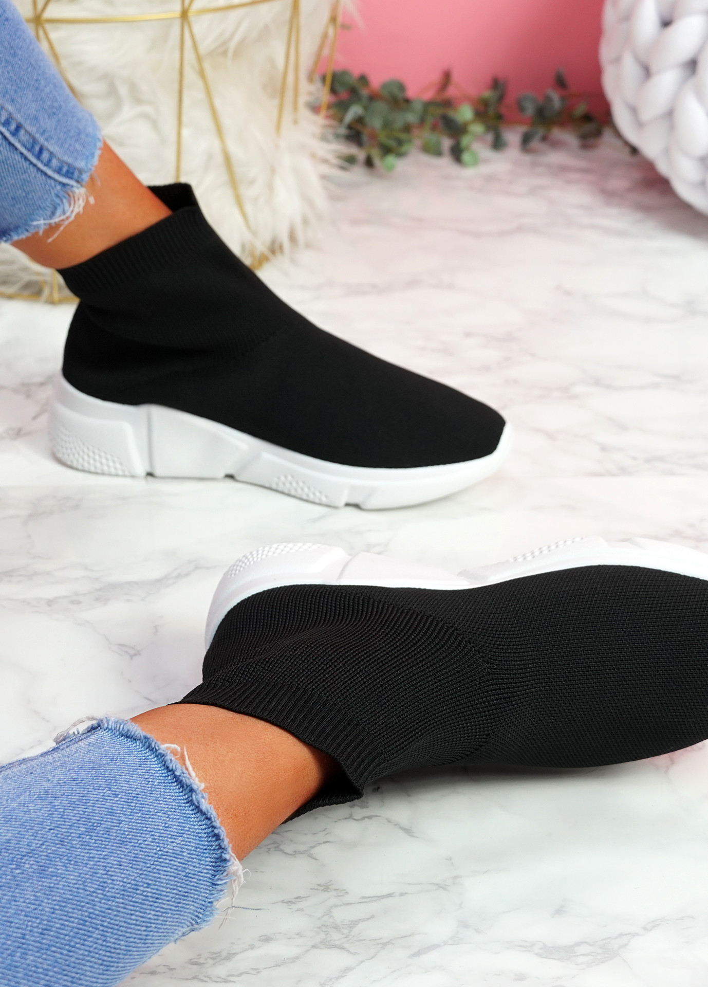 Bodde Black White Sock Sneakers