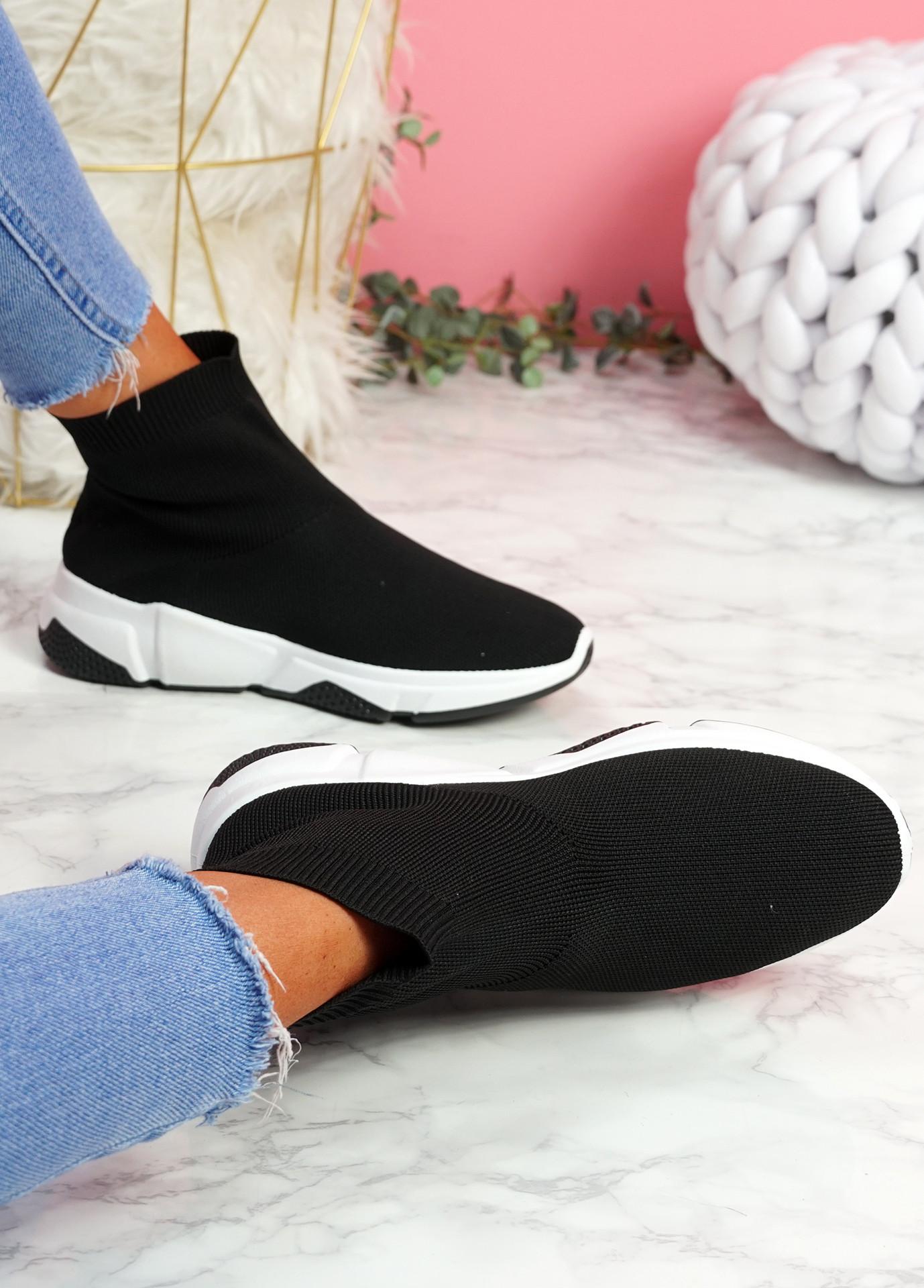 Bodde Black White Black Sock Sneakers