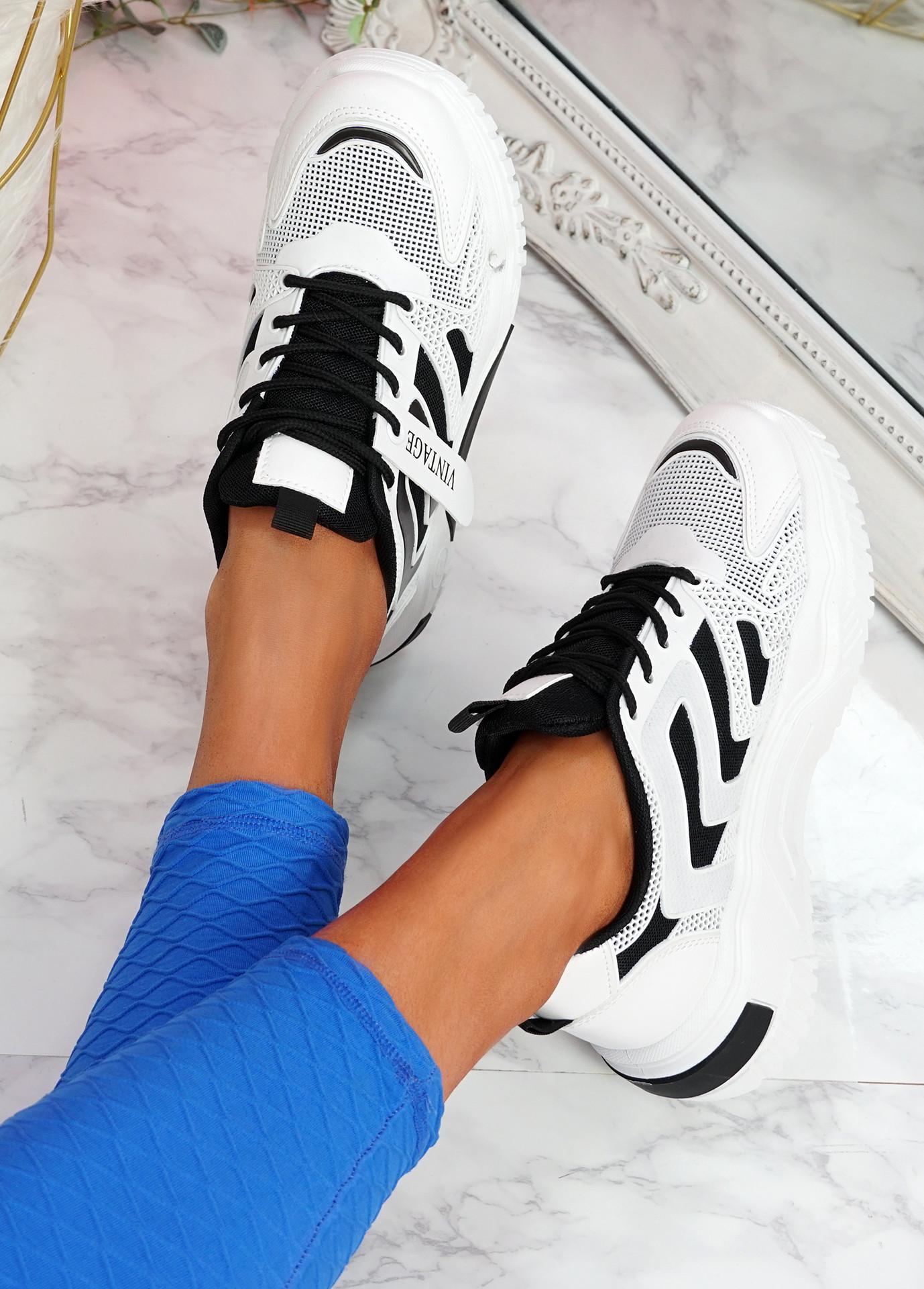 Huve White Black Chunky Sneakers