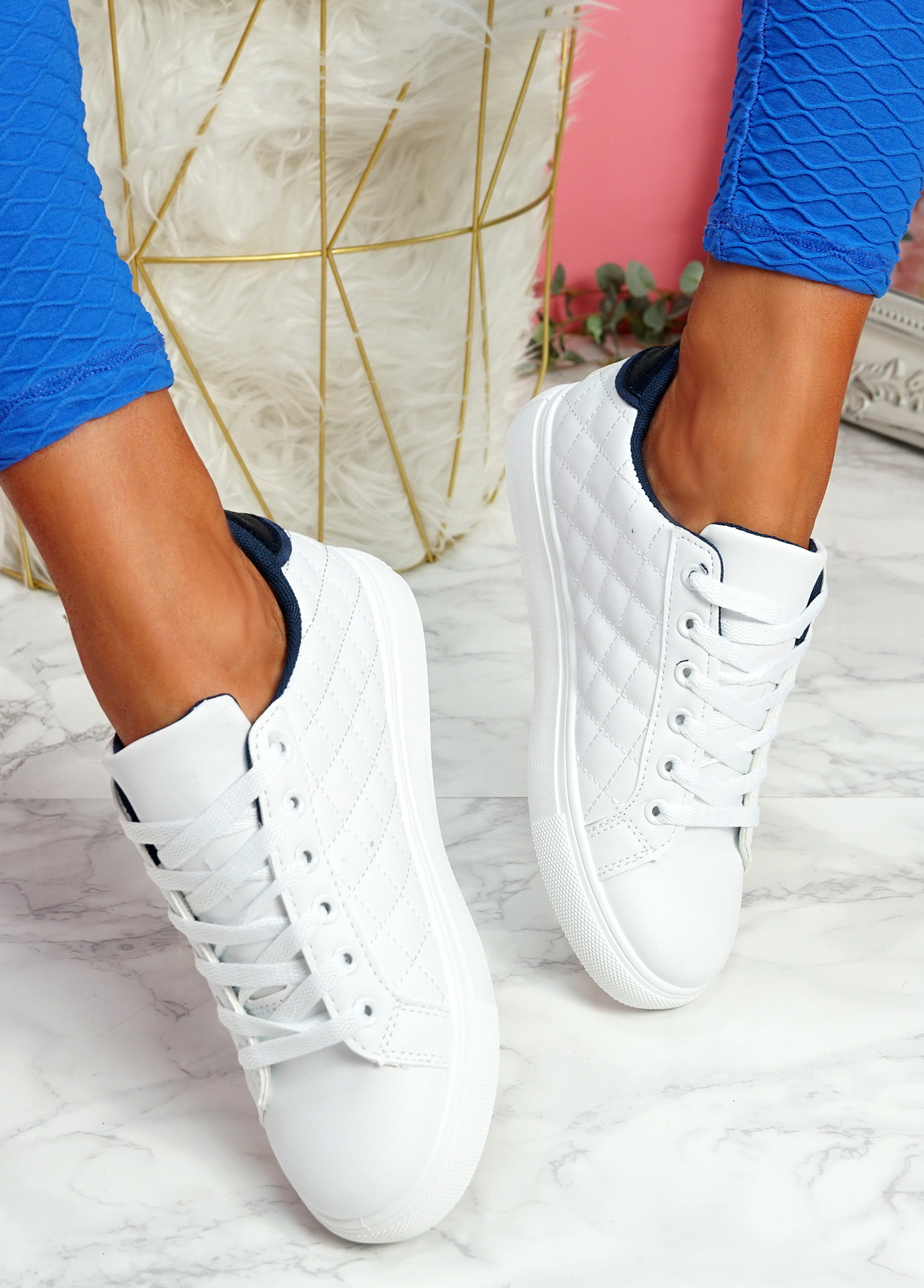 Kety White Blue Lace Up Trainers
