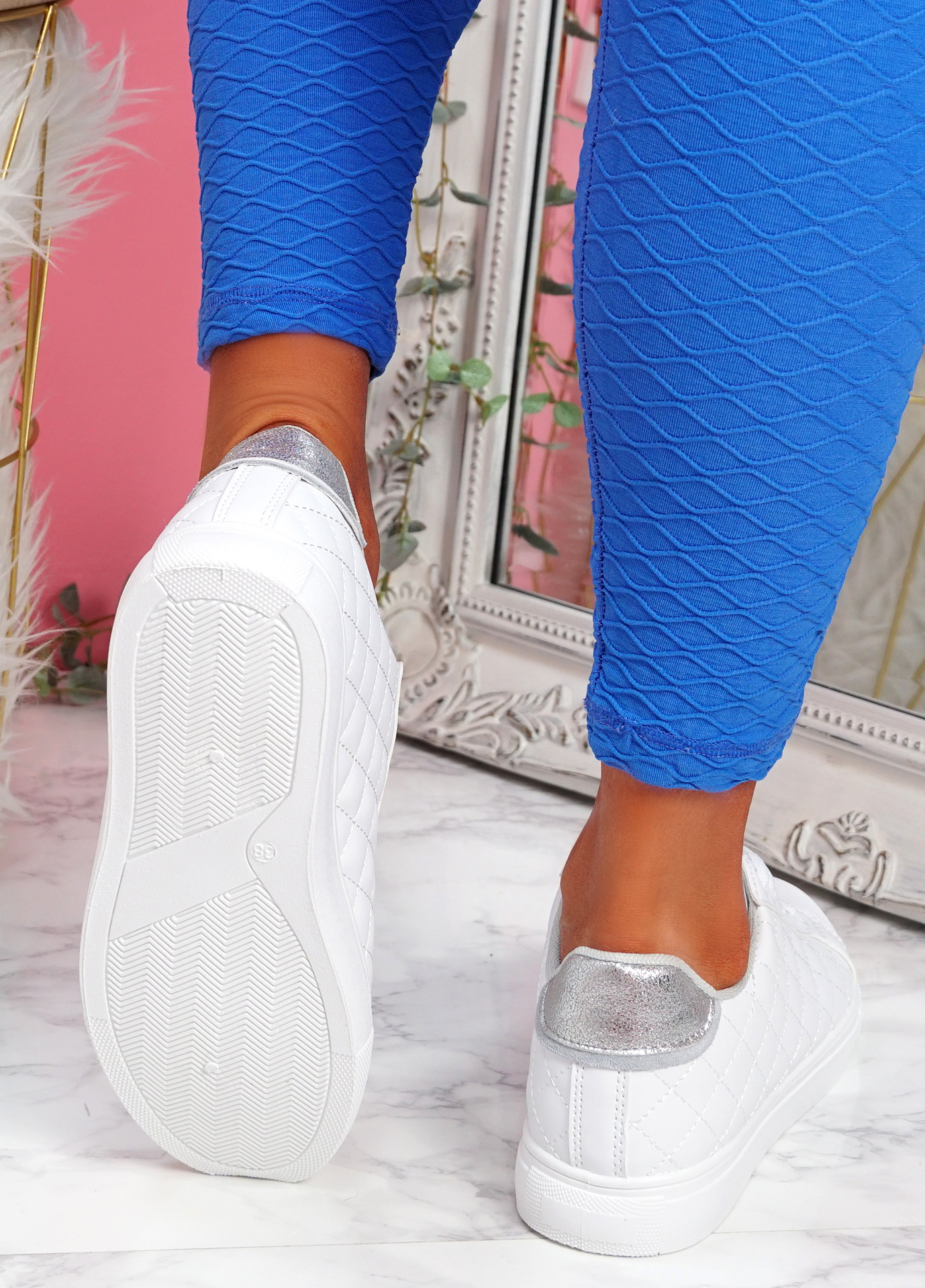Kety White Silver Lace Up Trainers
