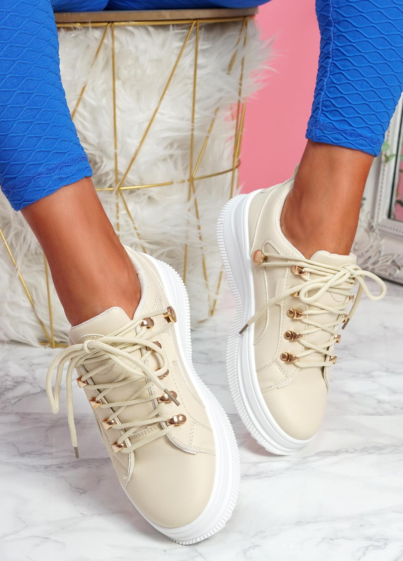 Huto Beige Platform Sneakers