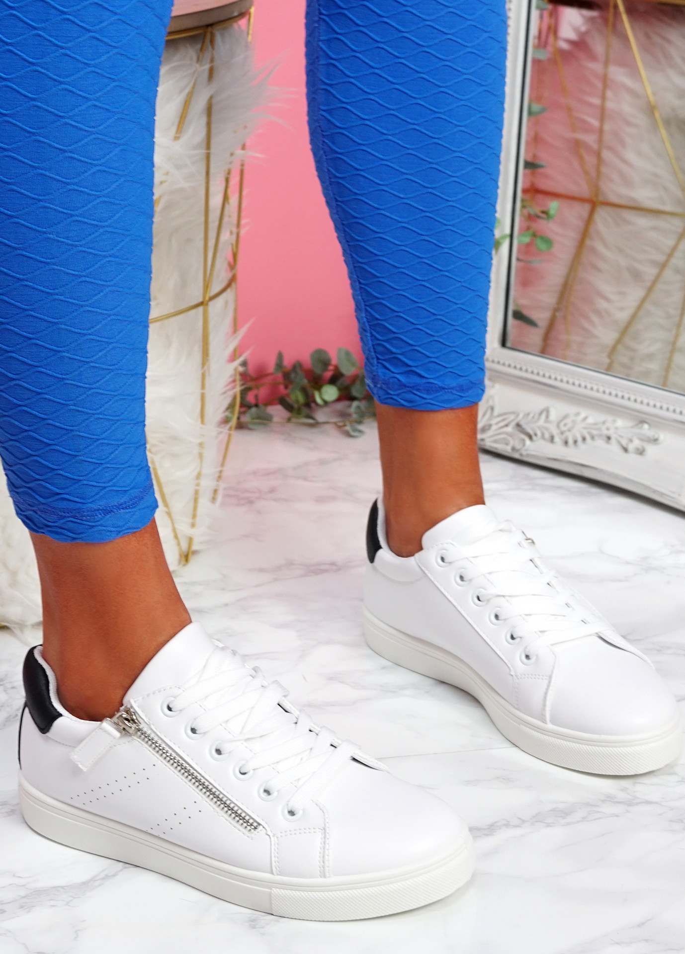 Lopy Black White Lace Up Trainers
