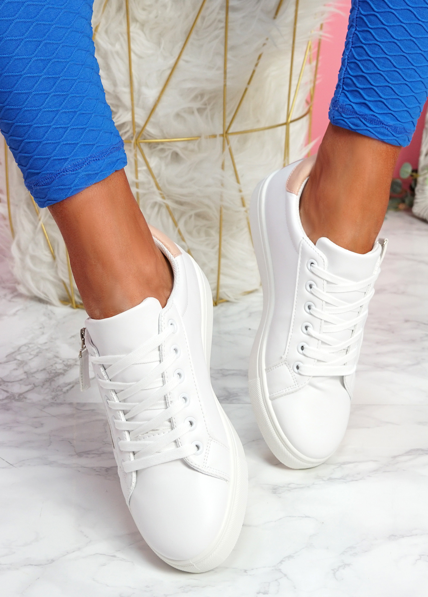 Lopy Pink White Lace Up Trainers