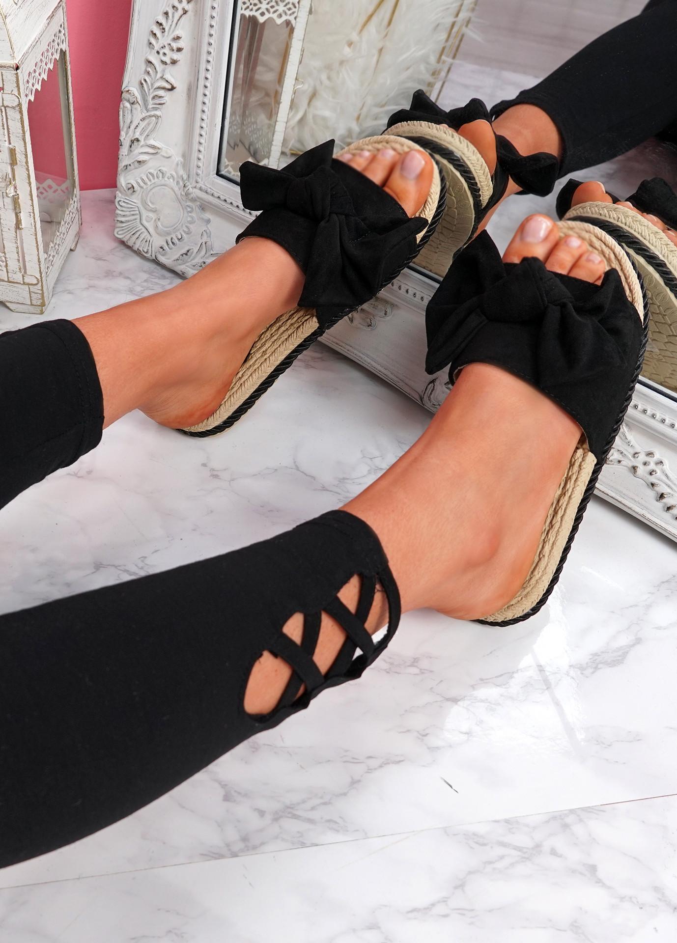 Sally Black Bow Flat Sandals