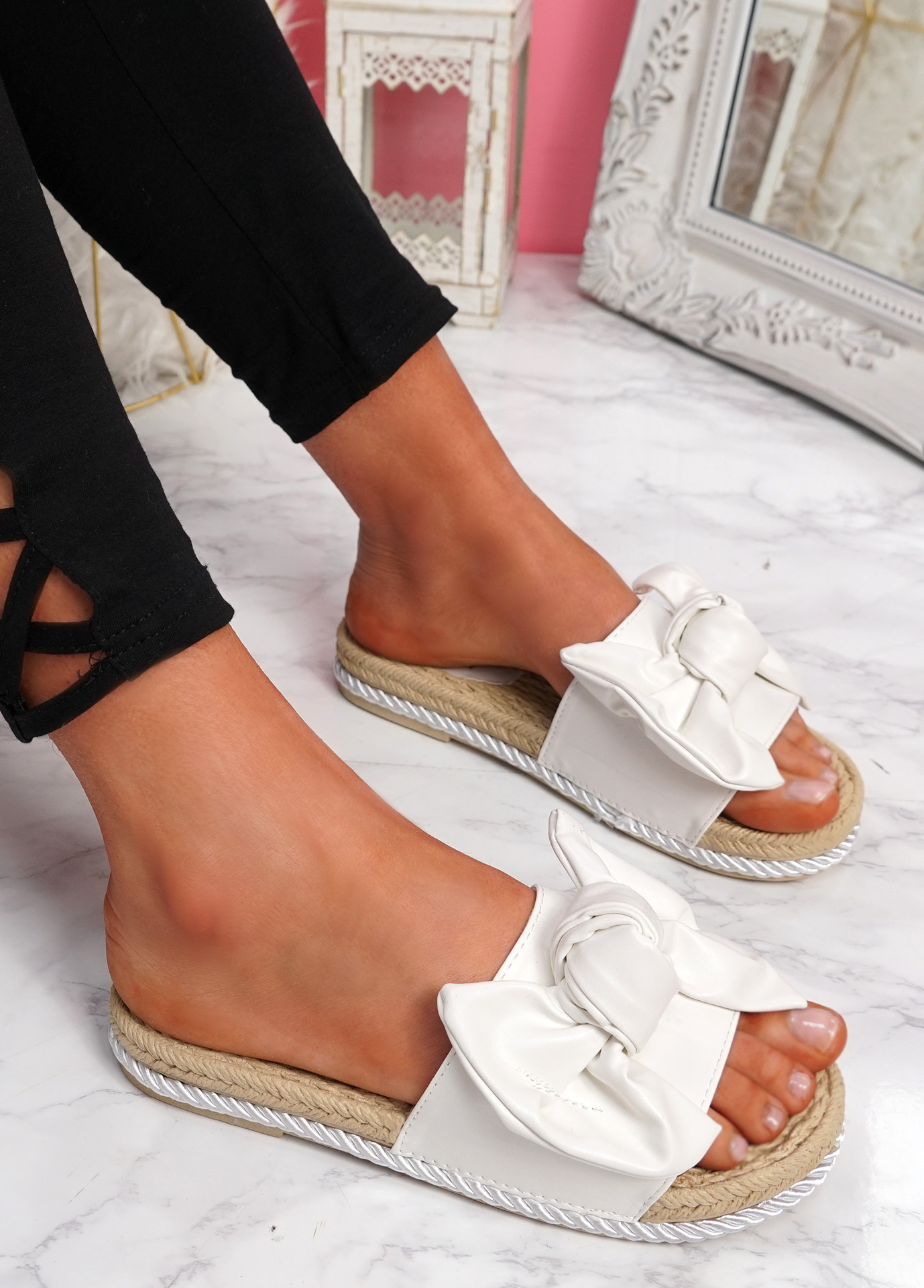 Sally White Bow Flat Sandals