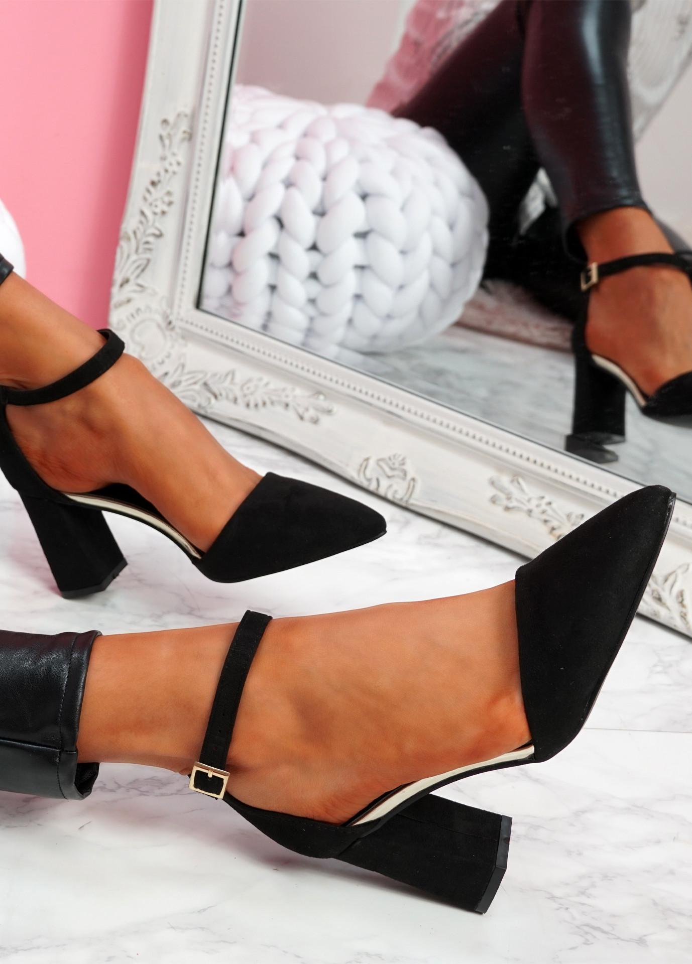 Amma Black High Block Heel Pumps