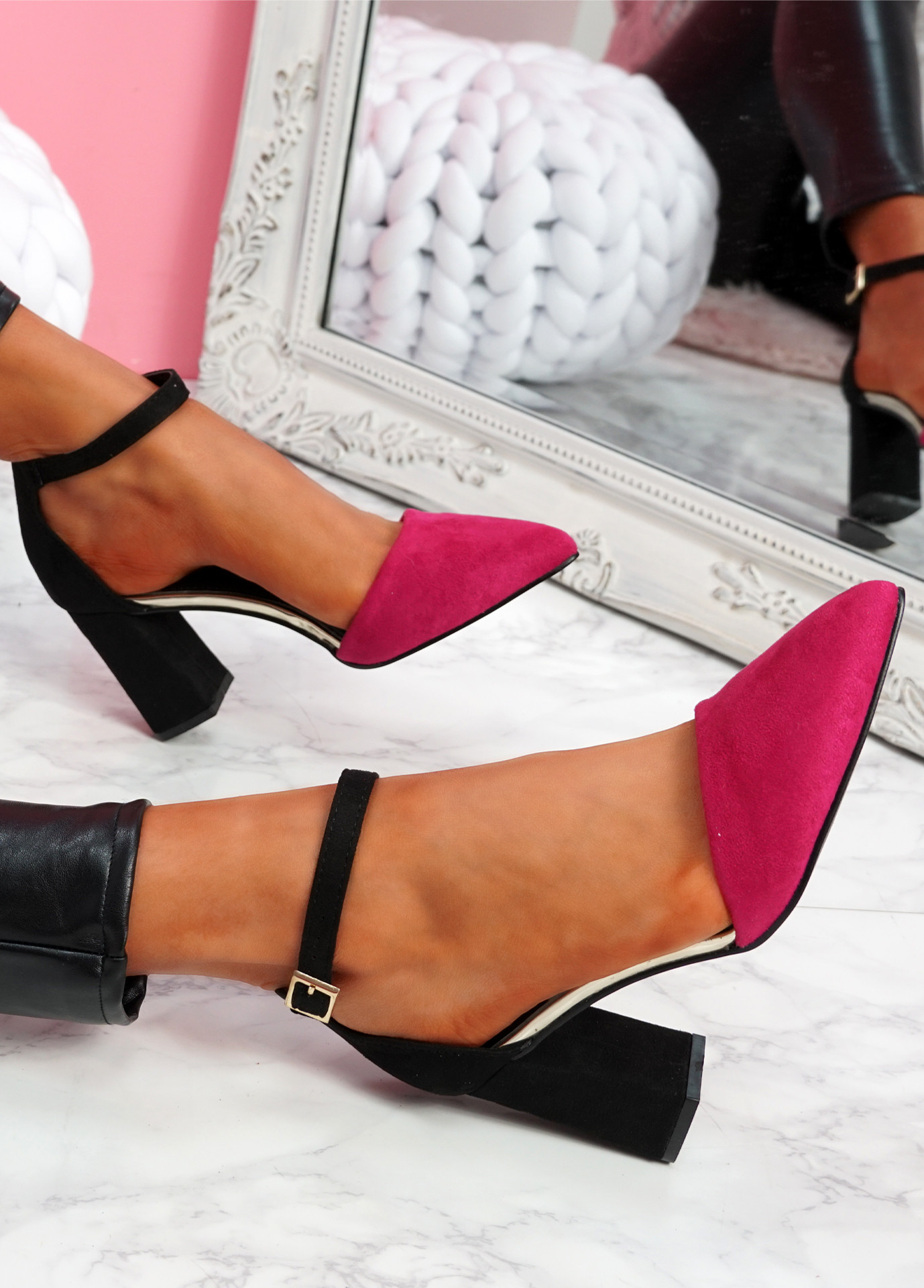 Amma Fuchsia High Block Heel Pumps