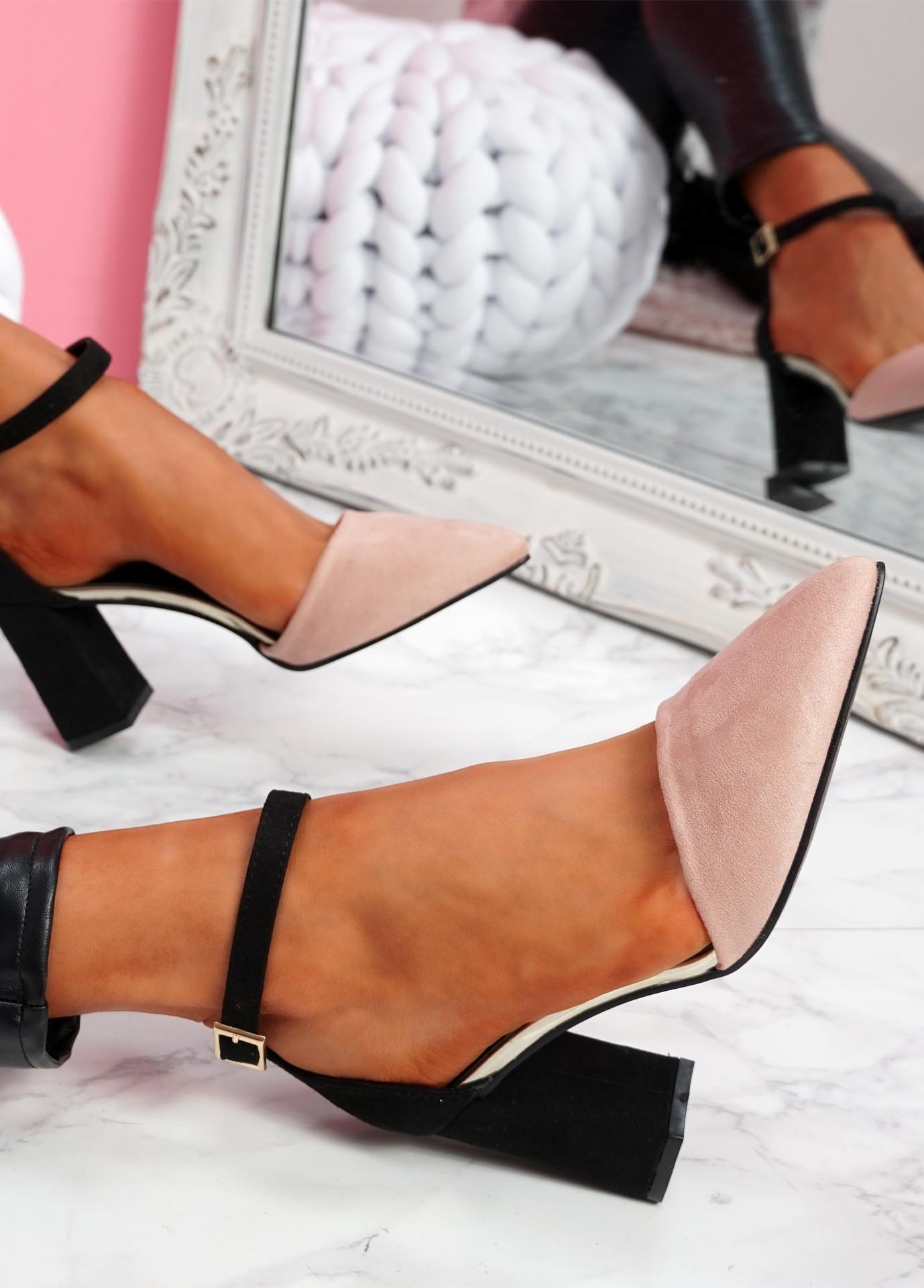 Amma Pink High Block Heel Pumps