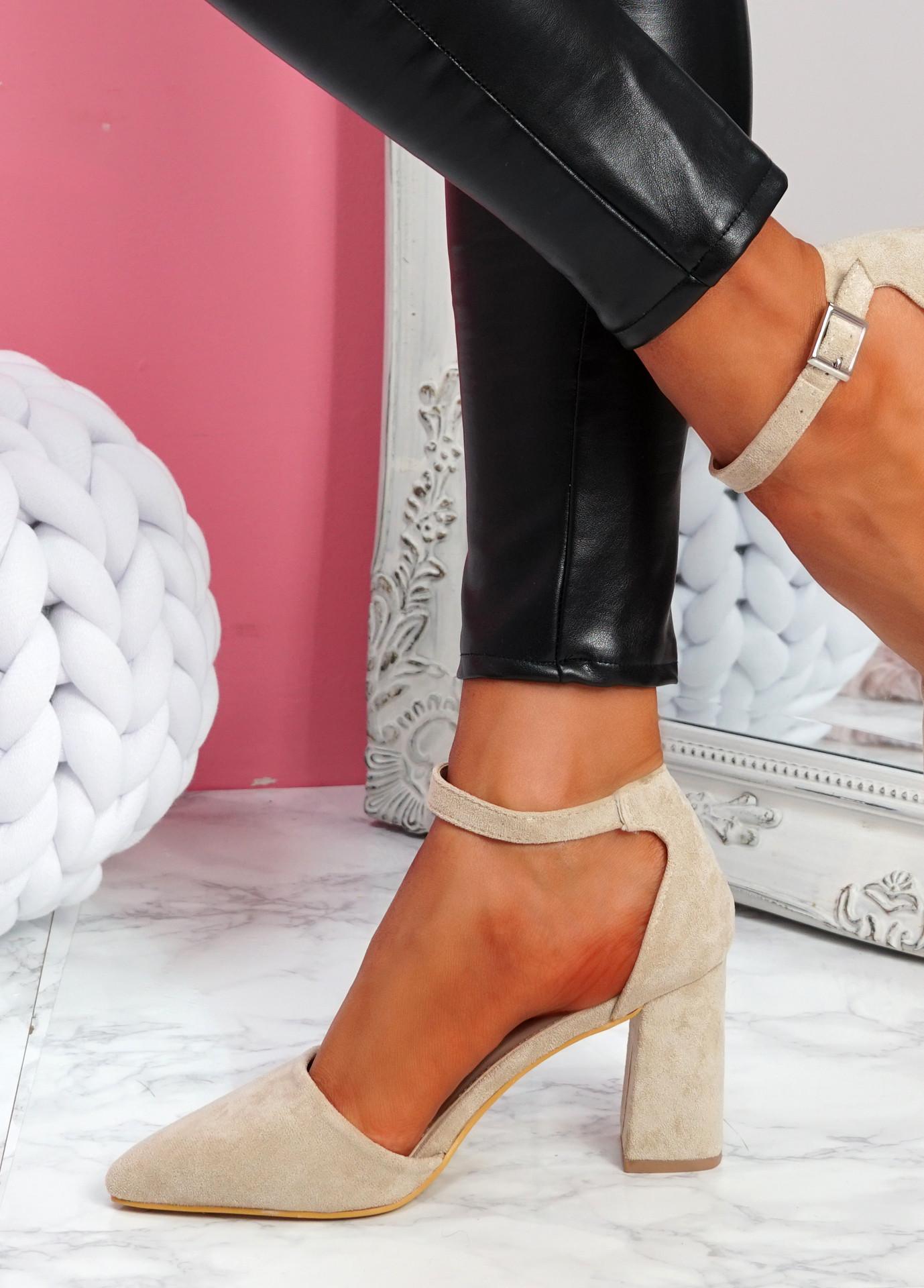 Pamma Apricot Ankle Strap Pumps