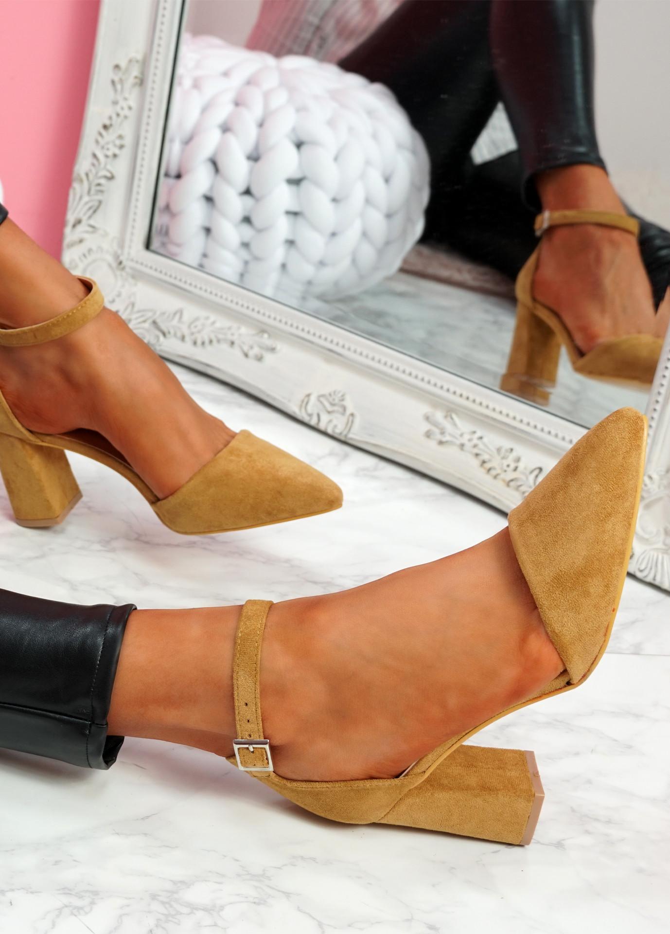 Pamma Camel Ankle Strap Pumps