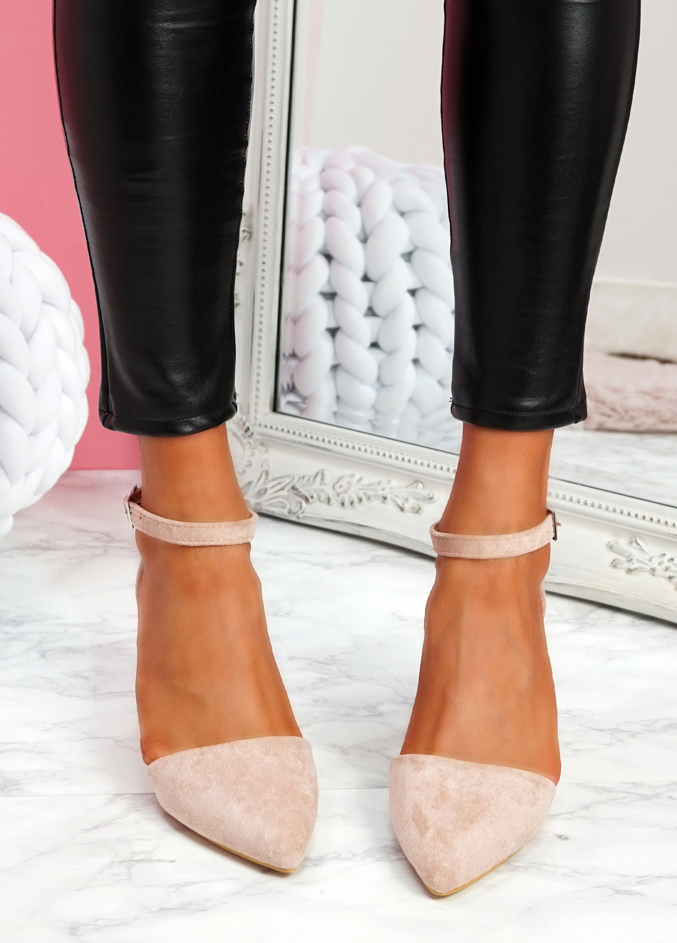 Pamma Pink Ankle Strap Pumps
