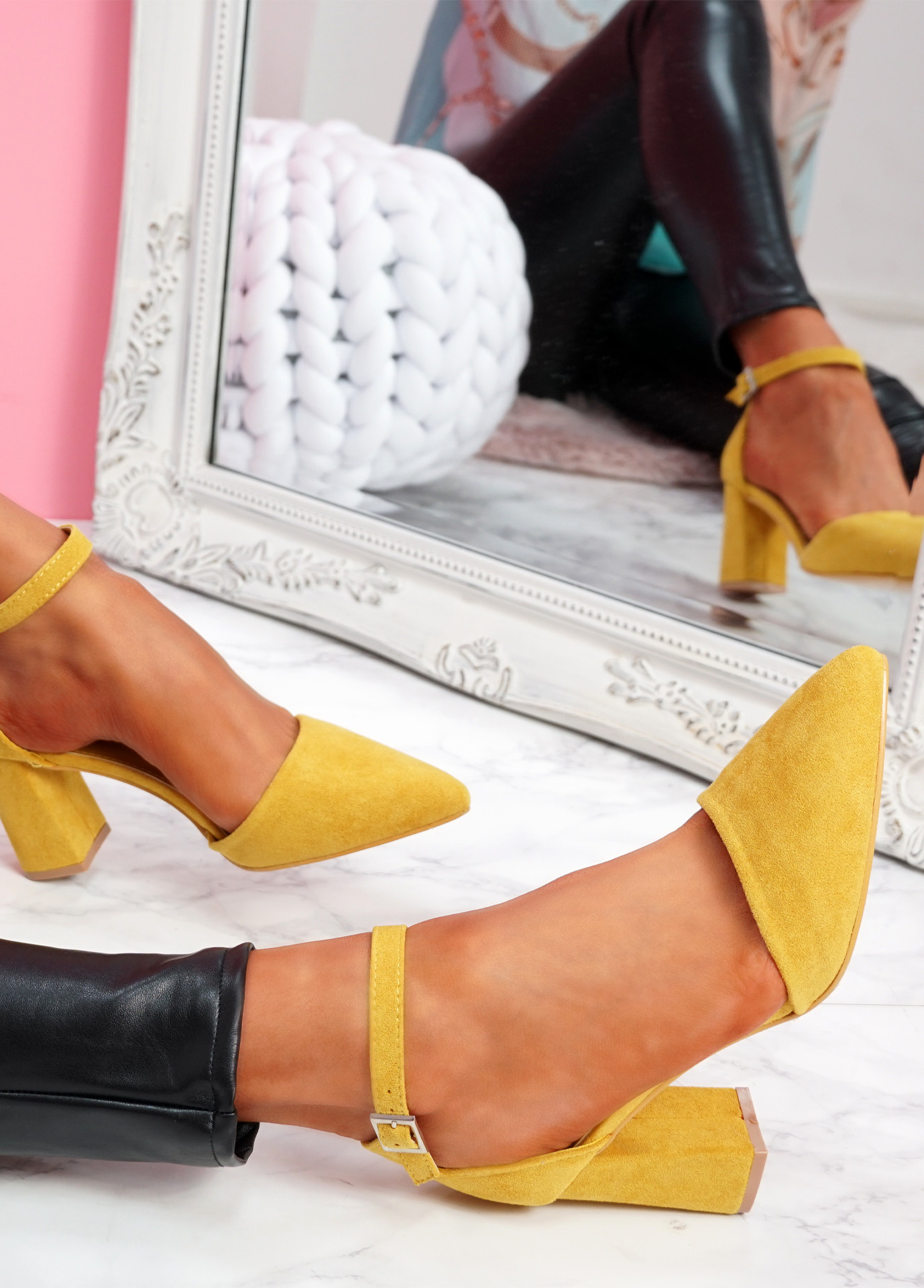 Pamma Yellow Ankle Strap Pumps