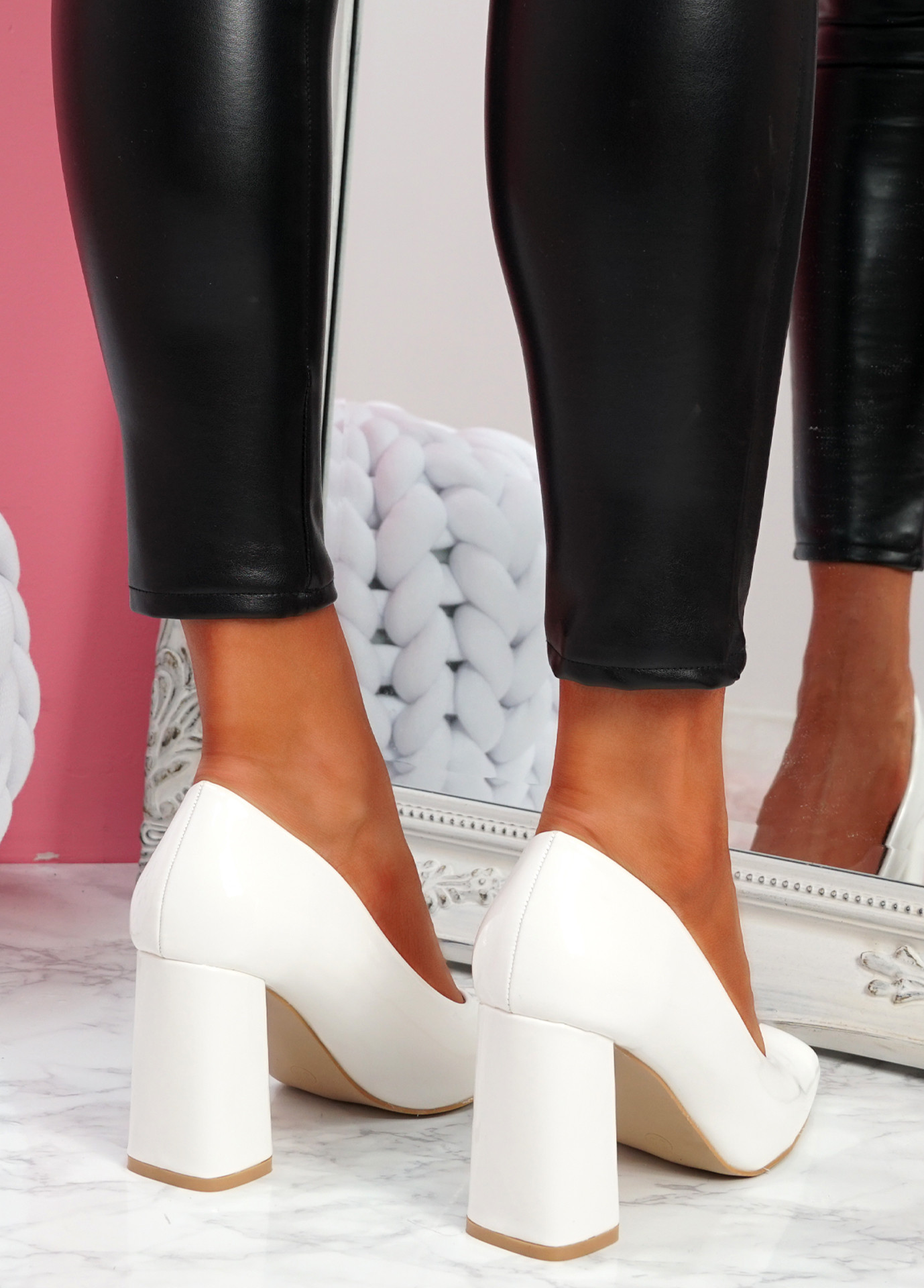 Nivy White Block Heel Court Pumps