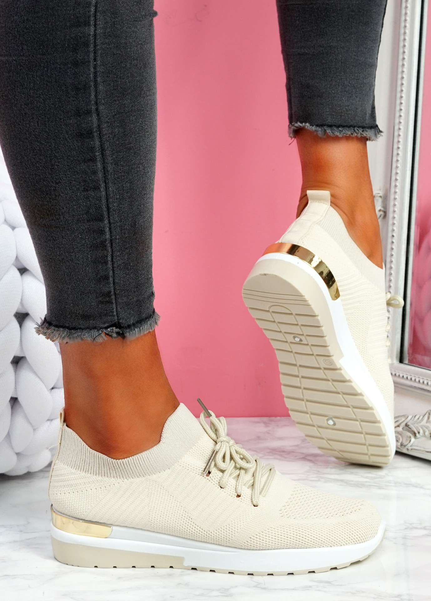 Scopo Beige Knit Lace Sneakers