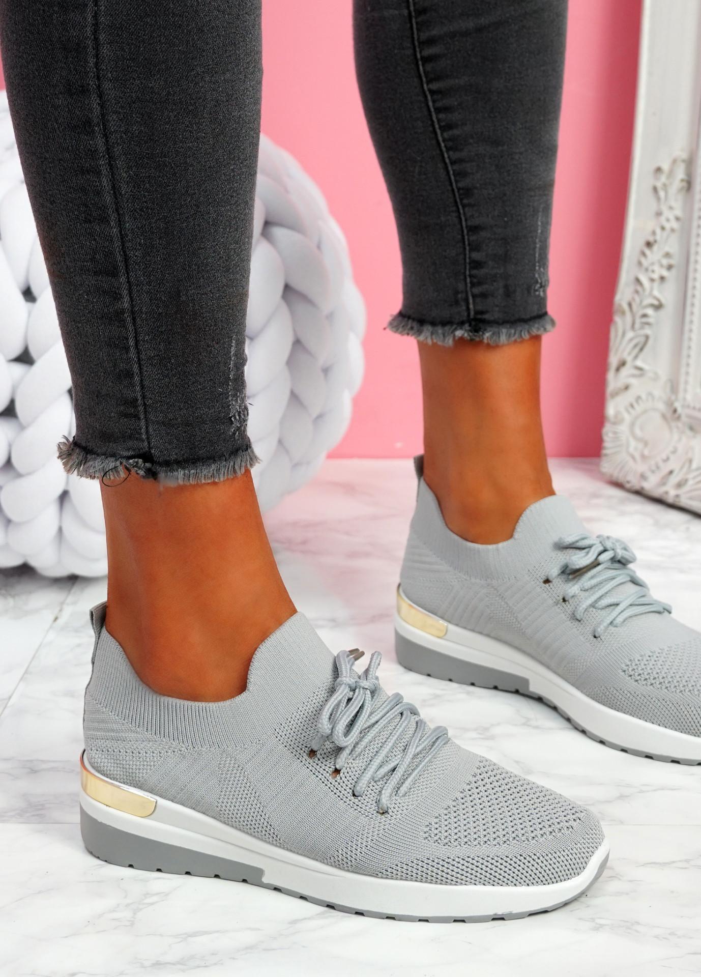 Scopo Grey Knit Lace Sneakers