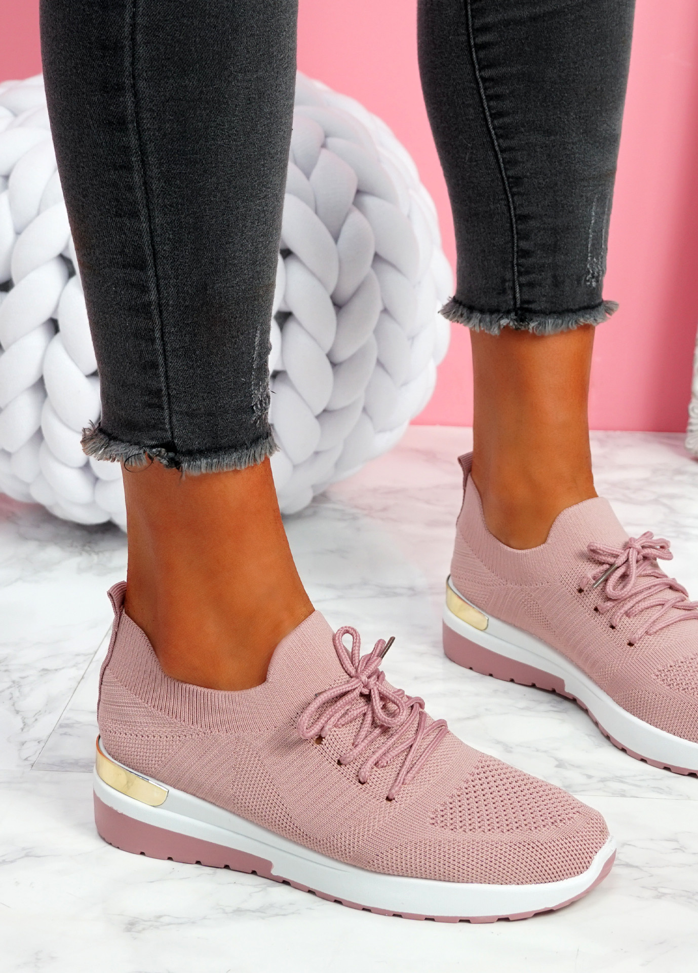 Scopo Pink Knit Lace Sneakers
