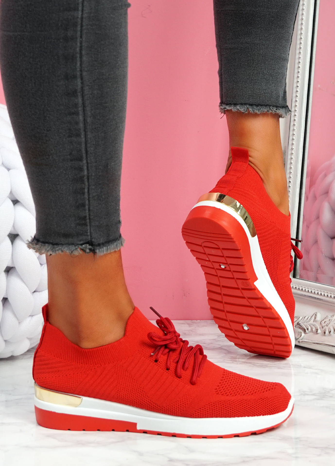 Scopo Red Knit Lace Sneakers