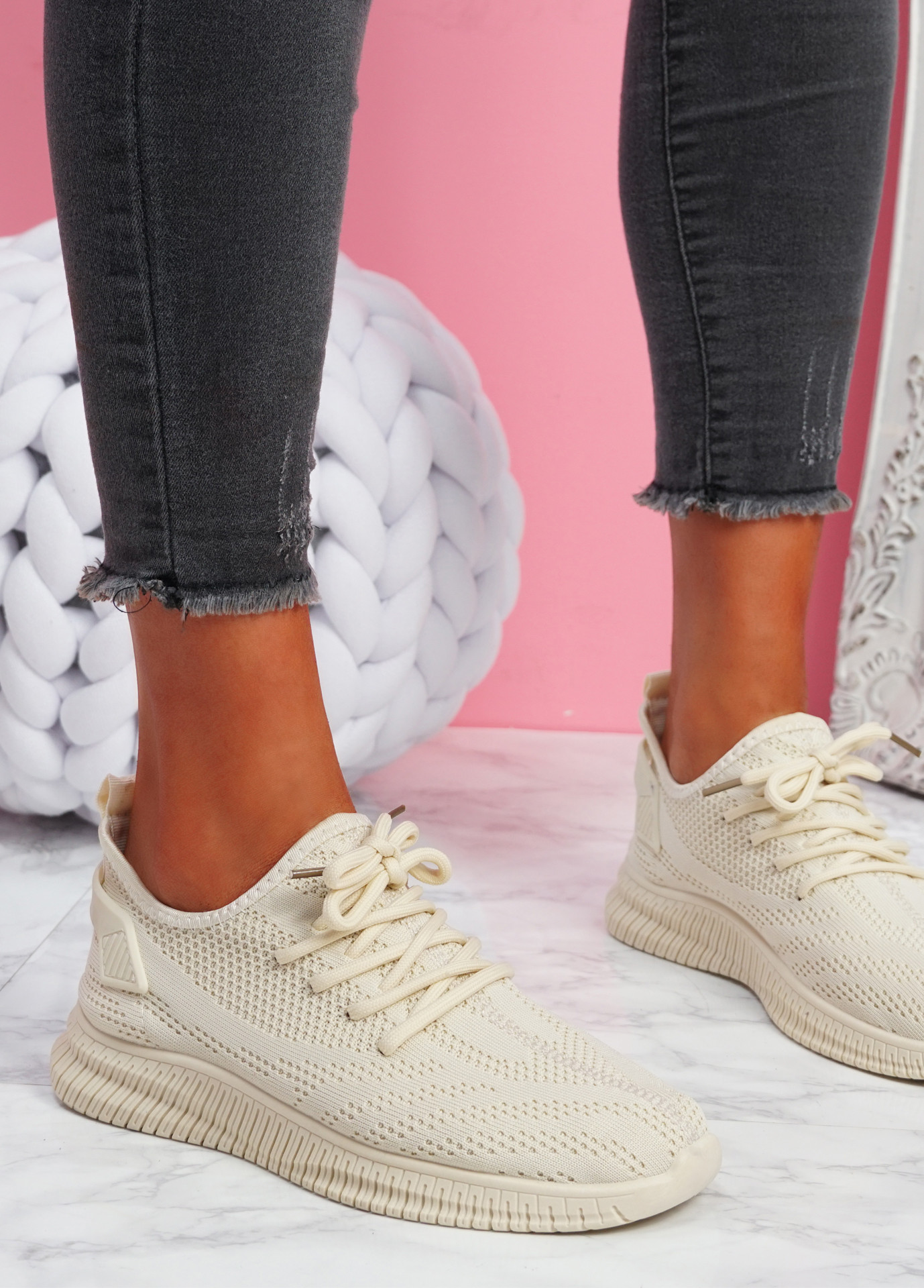 Envo Beige Knit Trainers