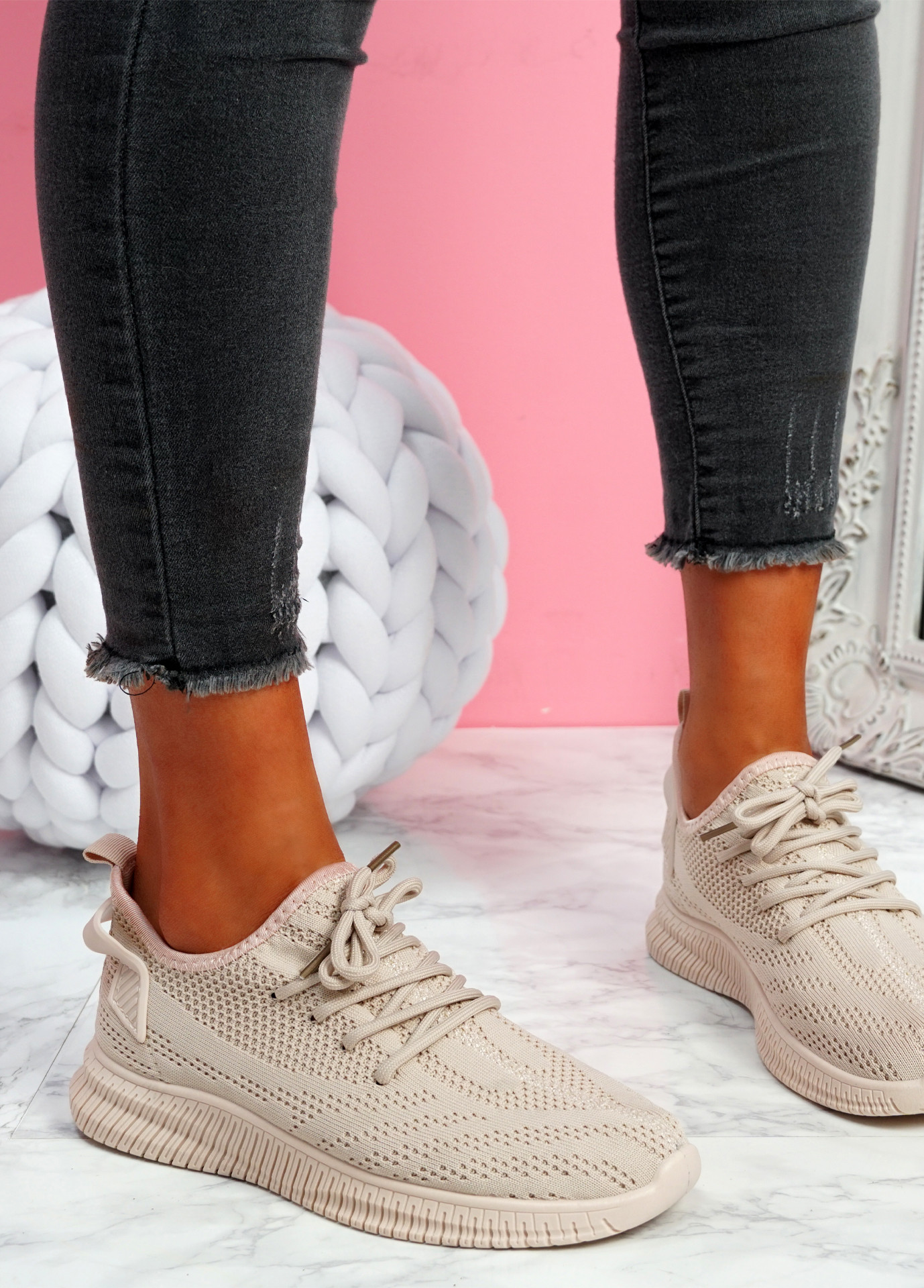 Envo Pink Knit Trainers