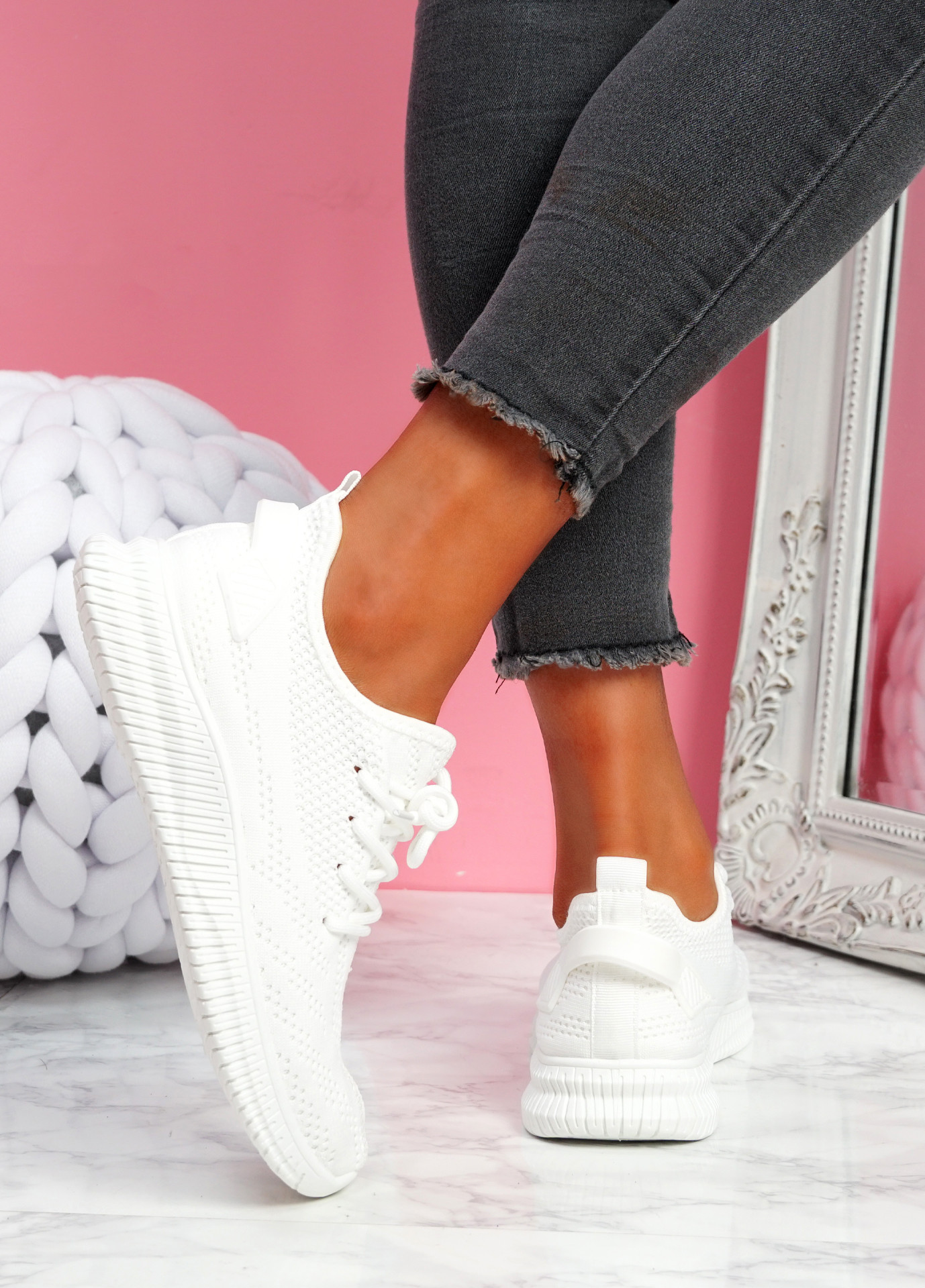 Envo White Knit Trainers